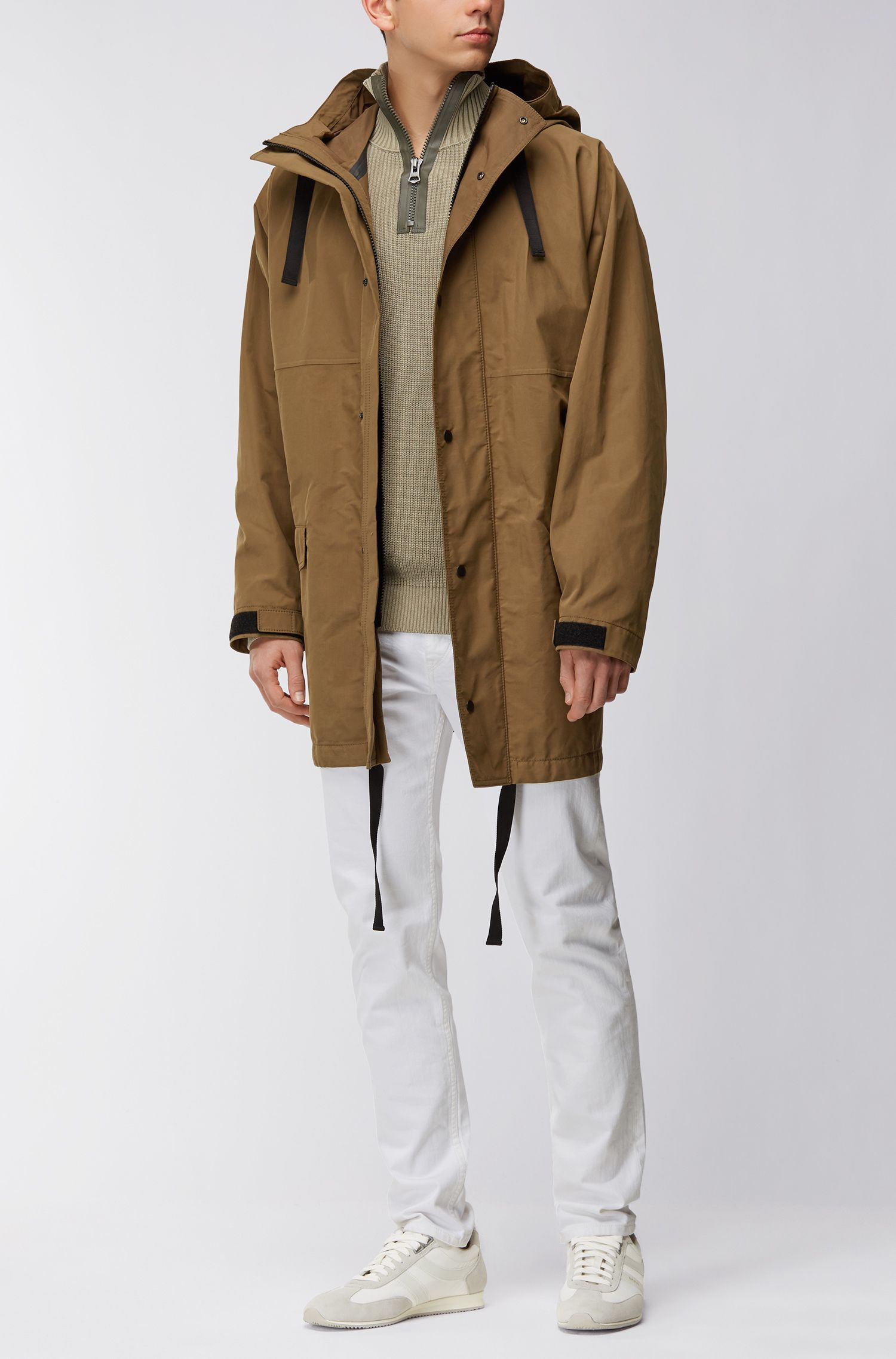 Oversized-fit parka van gewaxt canvas
