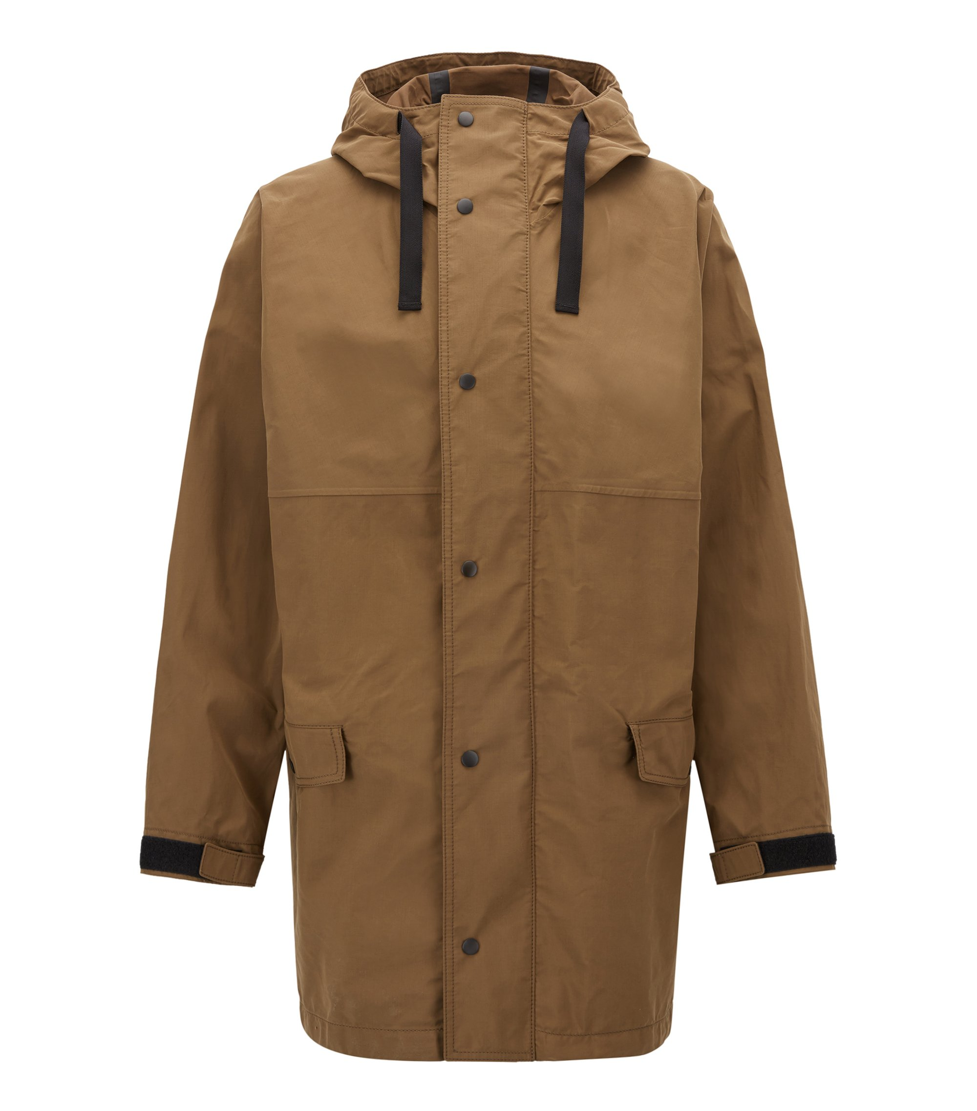 Oversized-fit parka in waxed canvas, Dark Green
