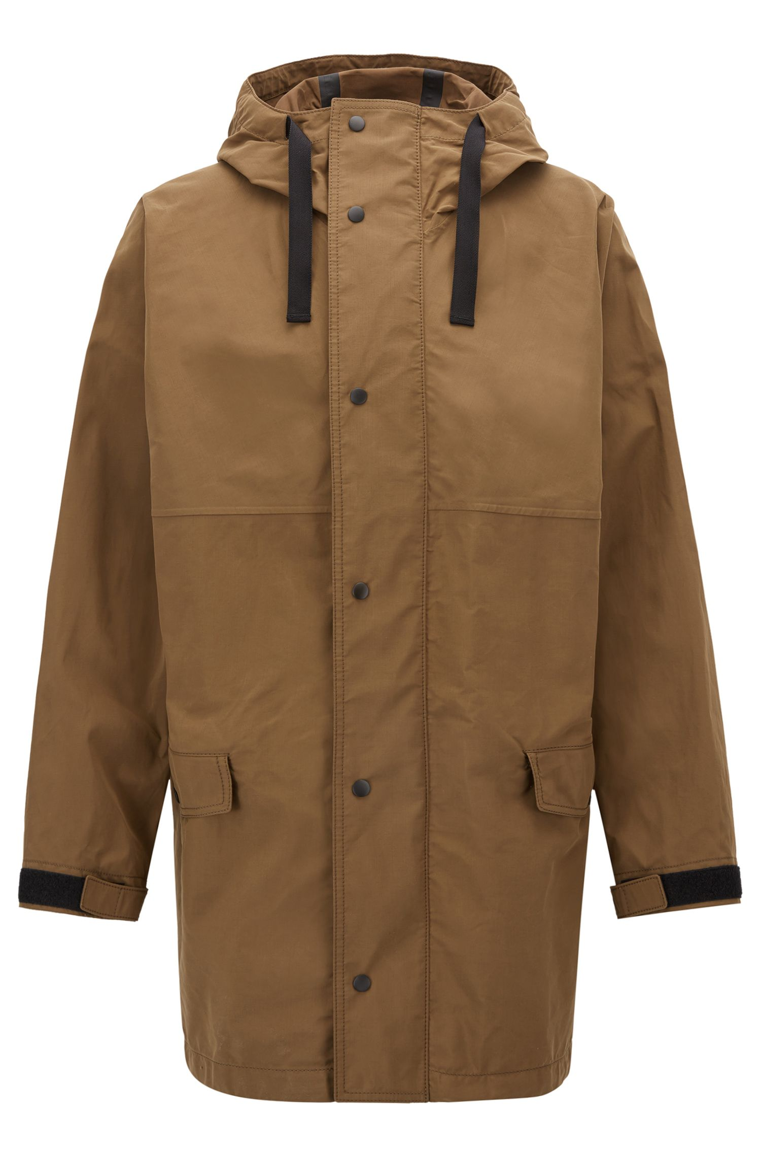 Oversized-fit parka in waxed canvas