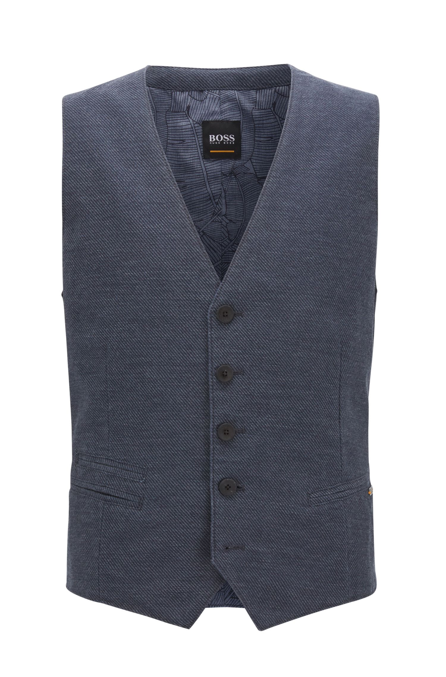Slim-fit gilet in een gemêleerde twill met visgraatpatroon