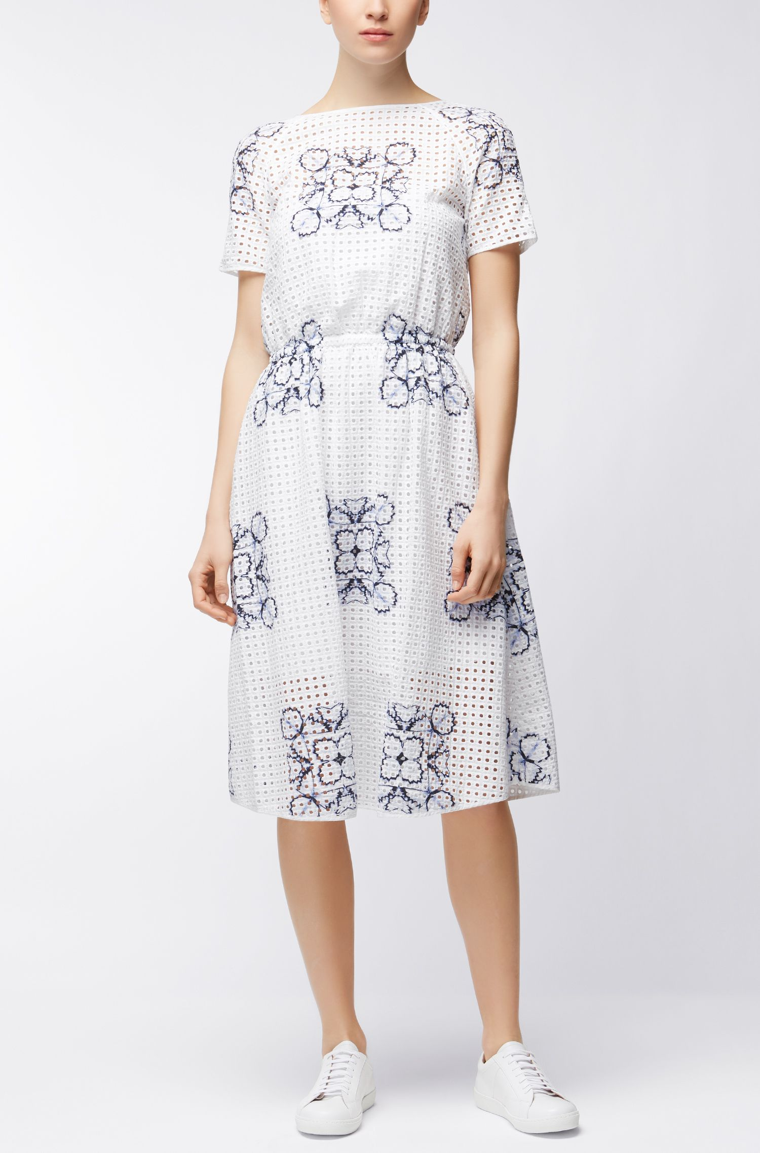 Cotton broderie-anglaise floral dress