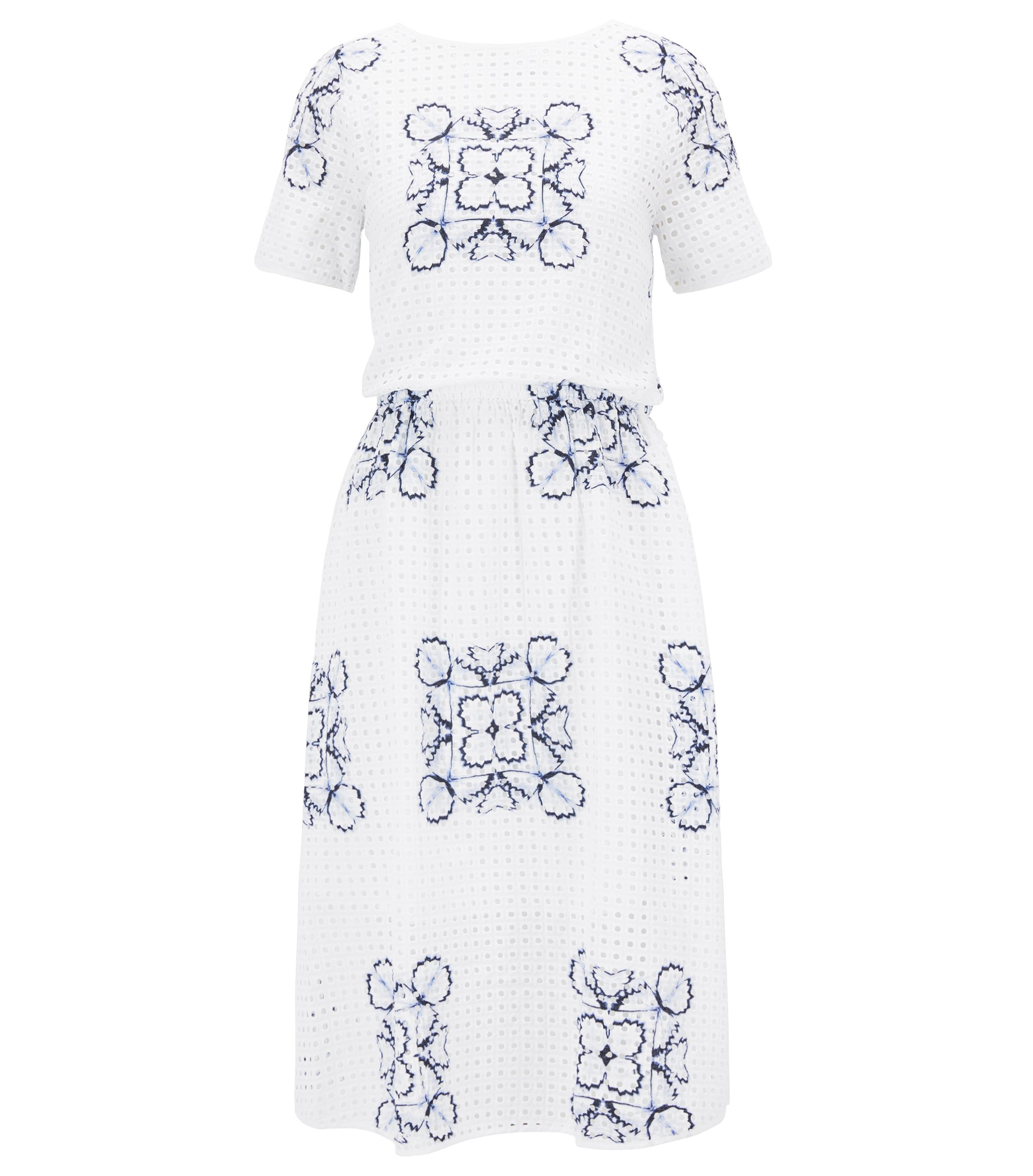 Cotton broderie-anglaise floral dress  , White