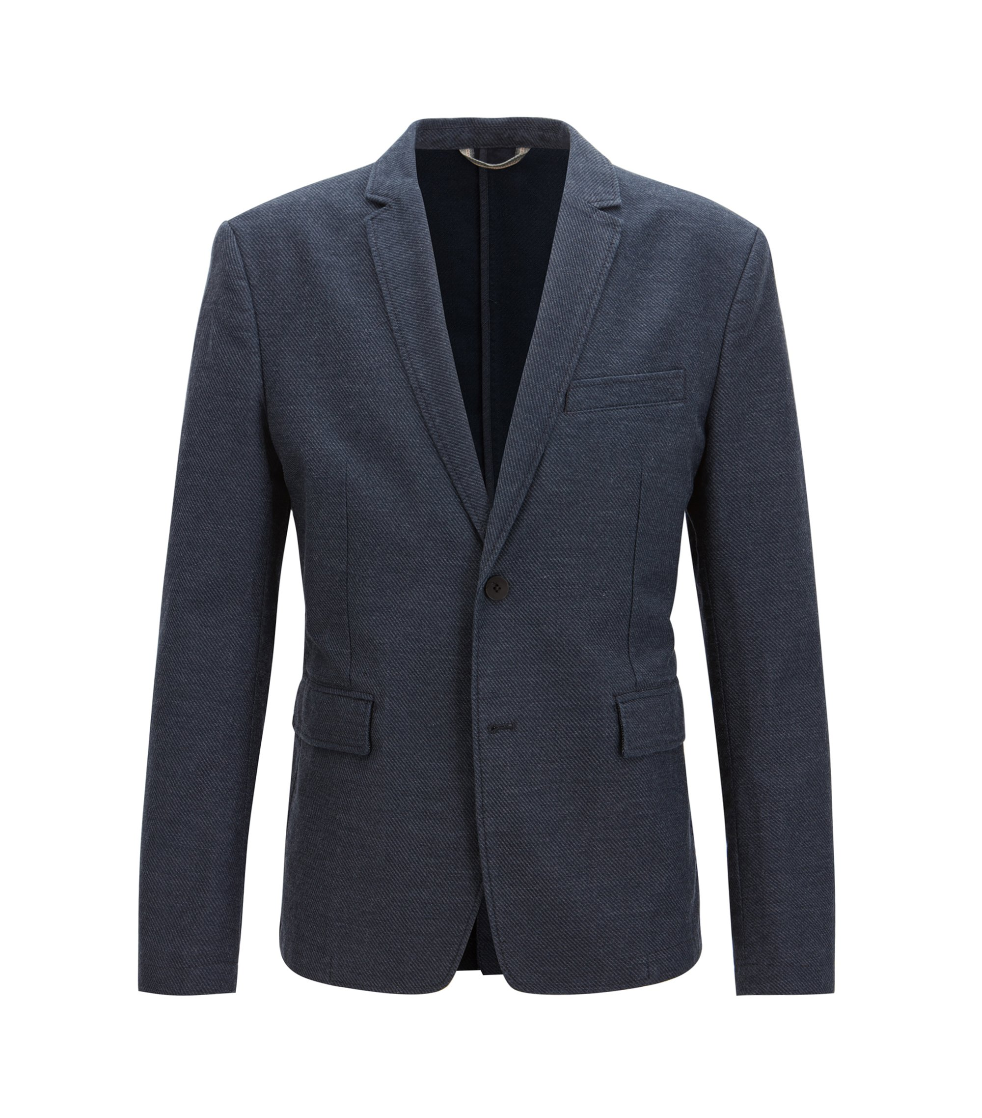 Slim-fit jacket in casual twill, Dark Blue