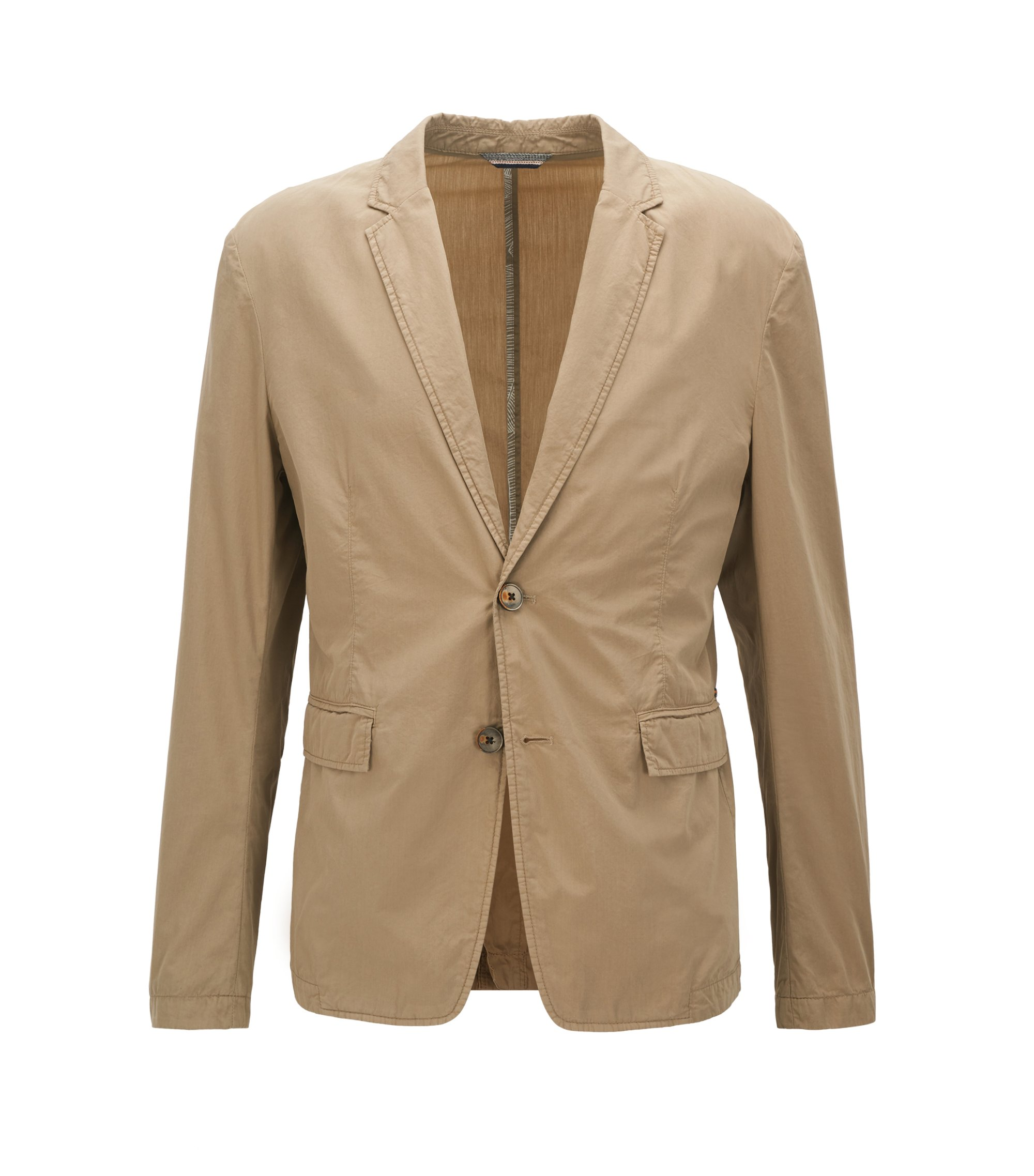 Slim-fit blazer in lightweight Italian cotton, Beige
