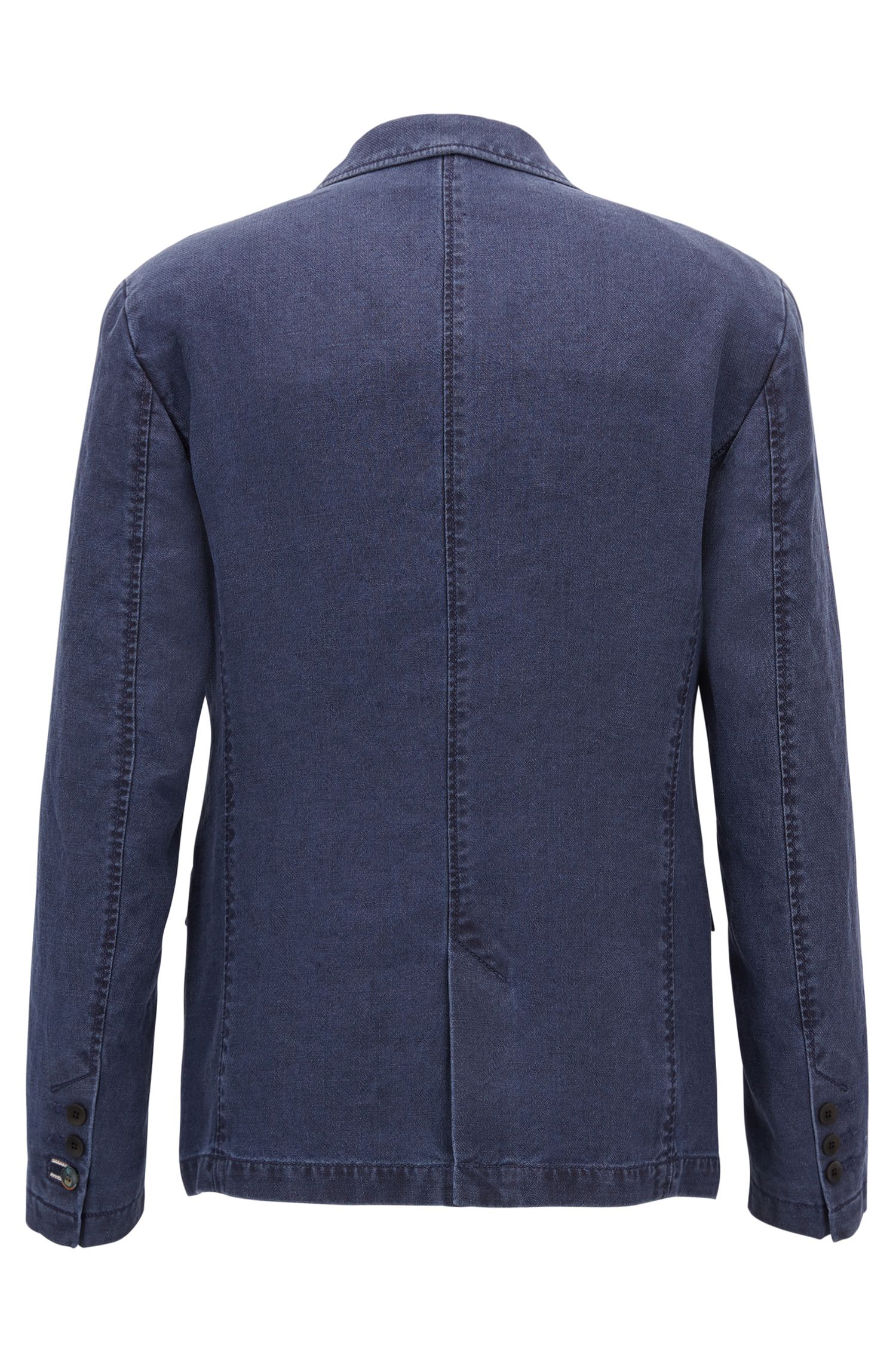 Slim-fit sulphur-dyed jacket in pure linen
