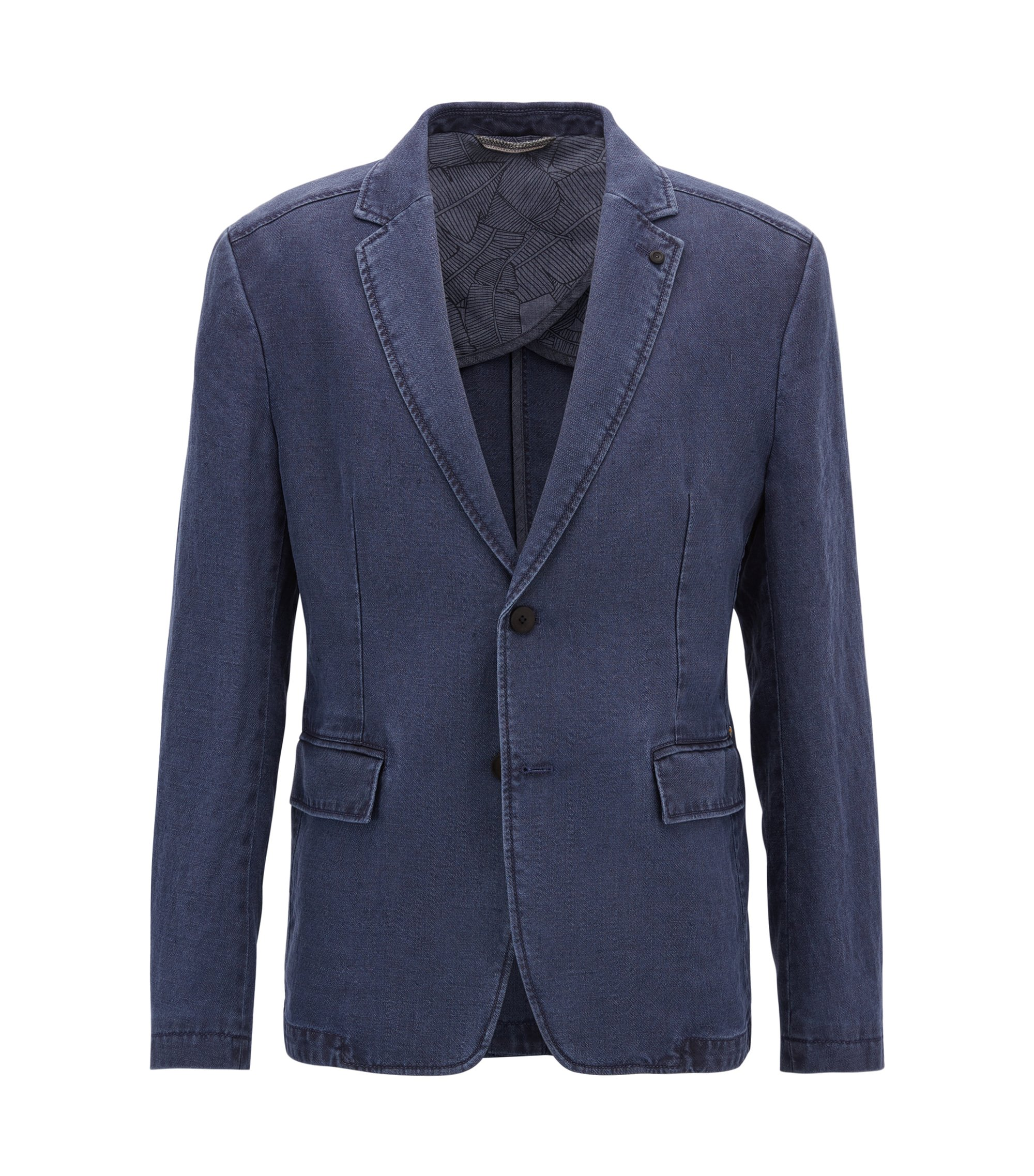Slim-fit sulphur-dyed jacket in pure linen, Dark Blue