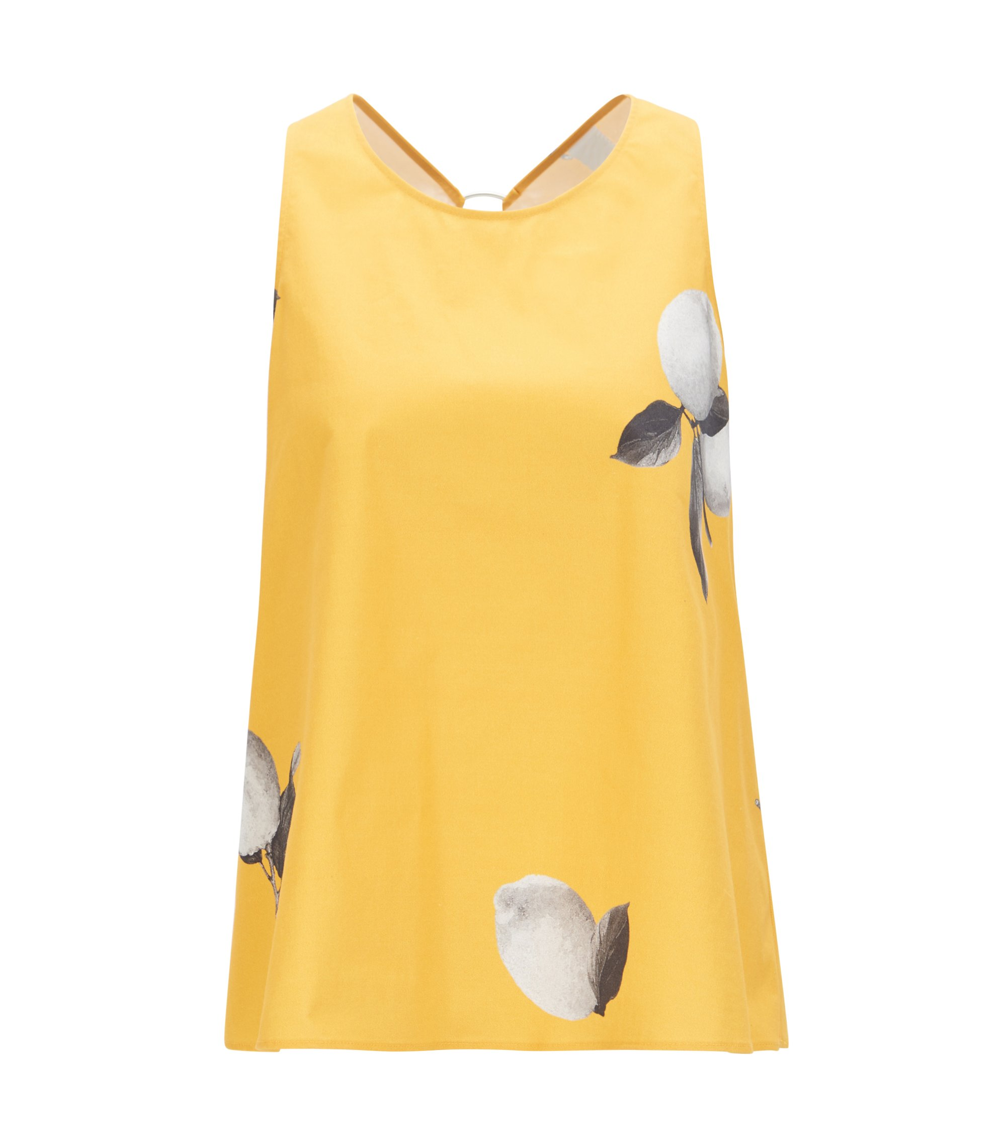Lemon-print top in stretch cotton poplin, Patterned