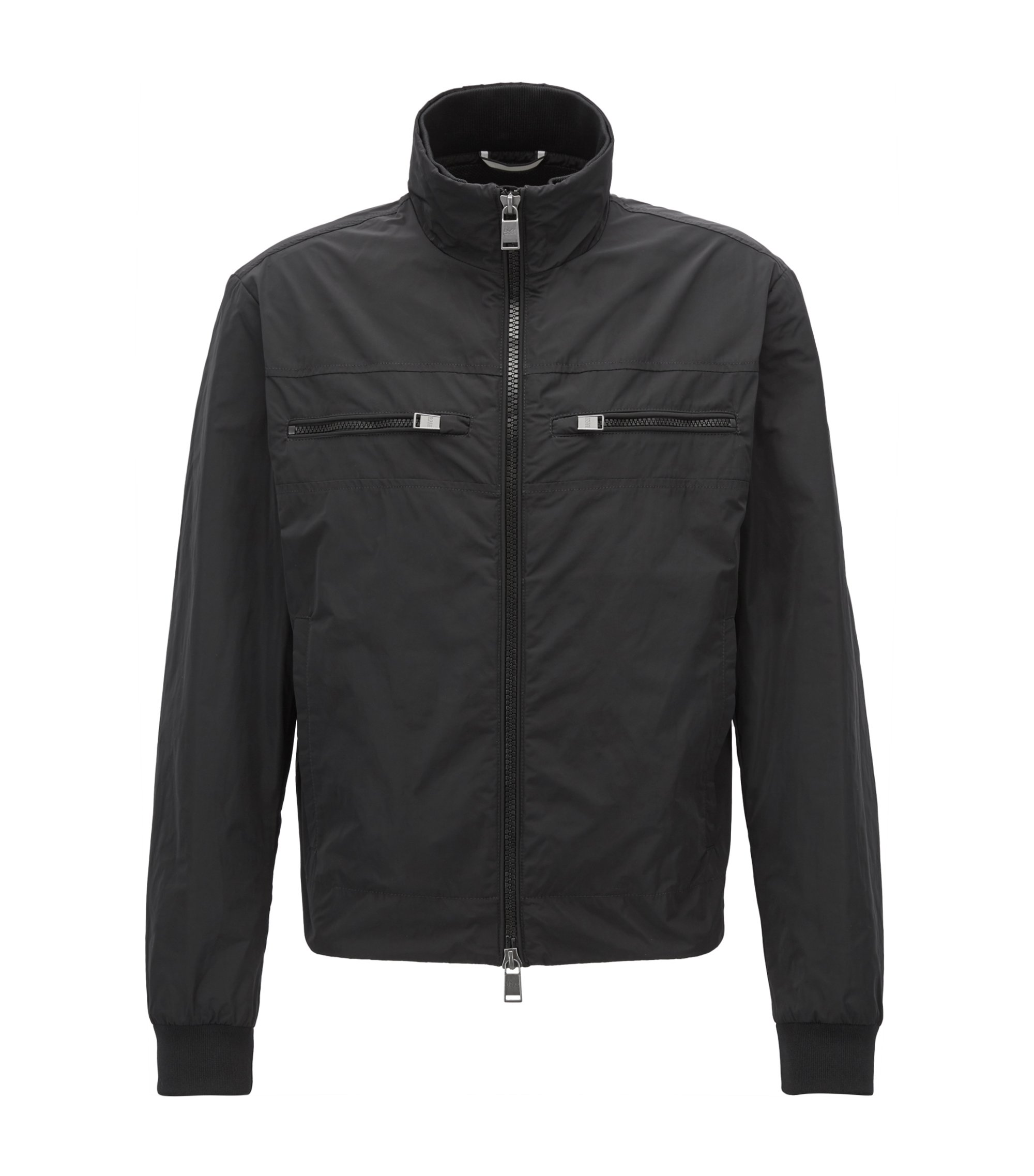 Blouson bomber jacket in water-repellent technical fabric, Black