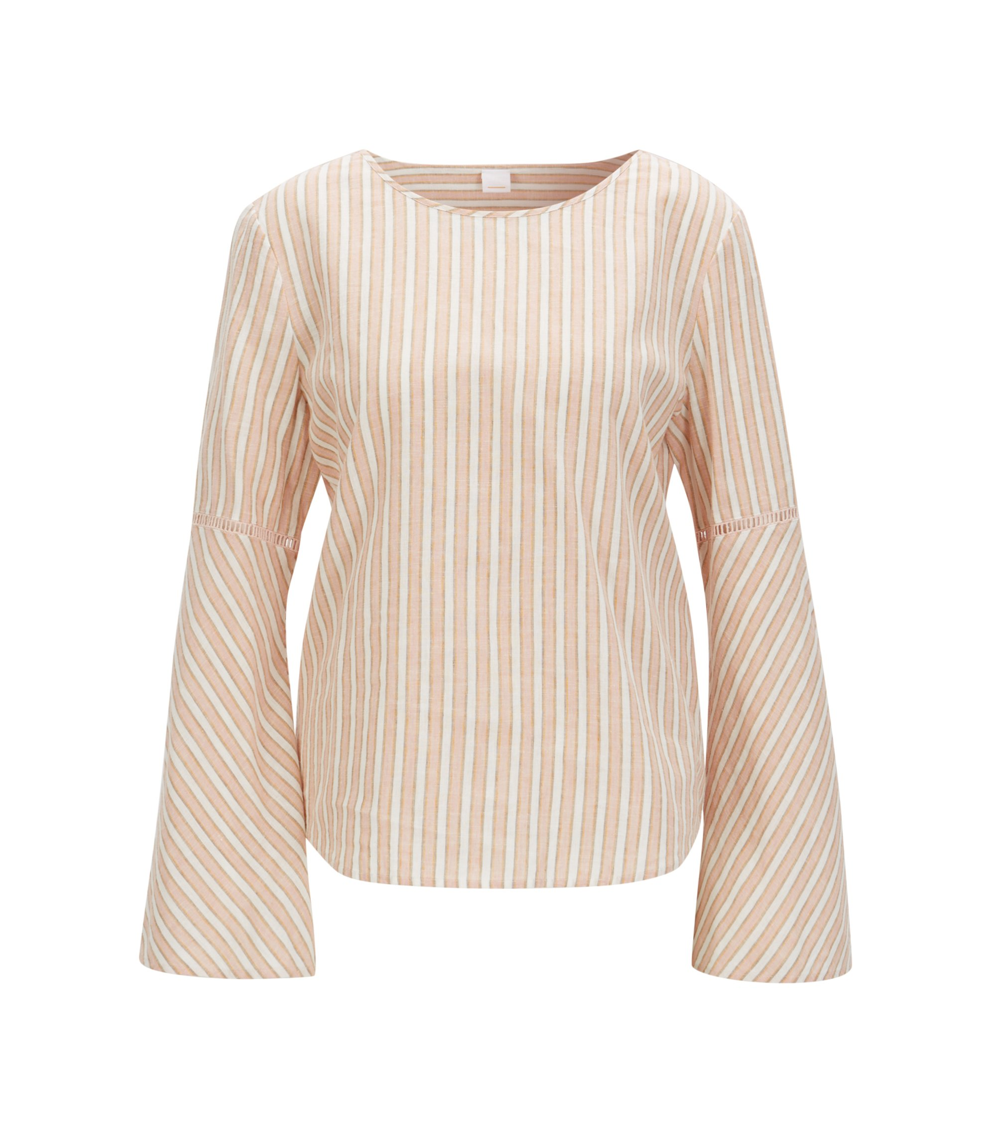 Collarless striped blouse in a linen blend, light pink