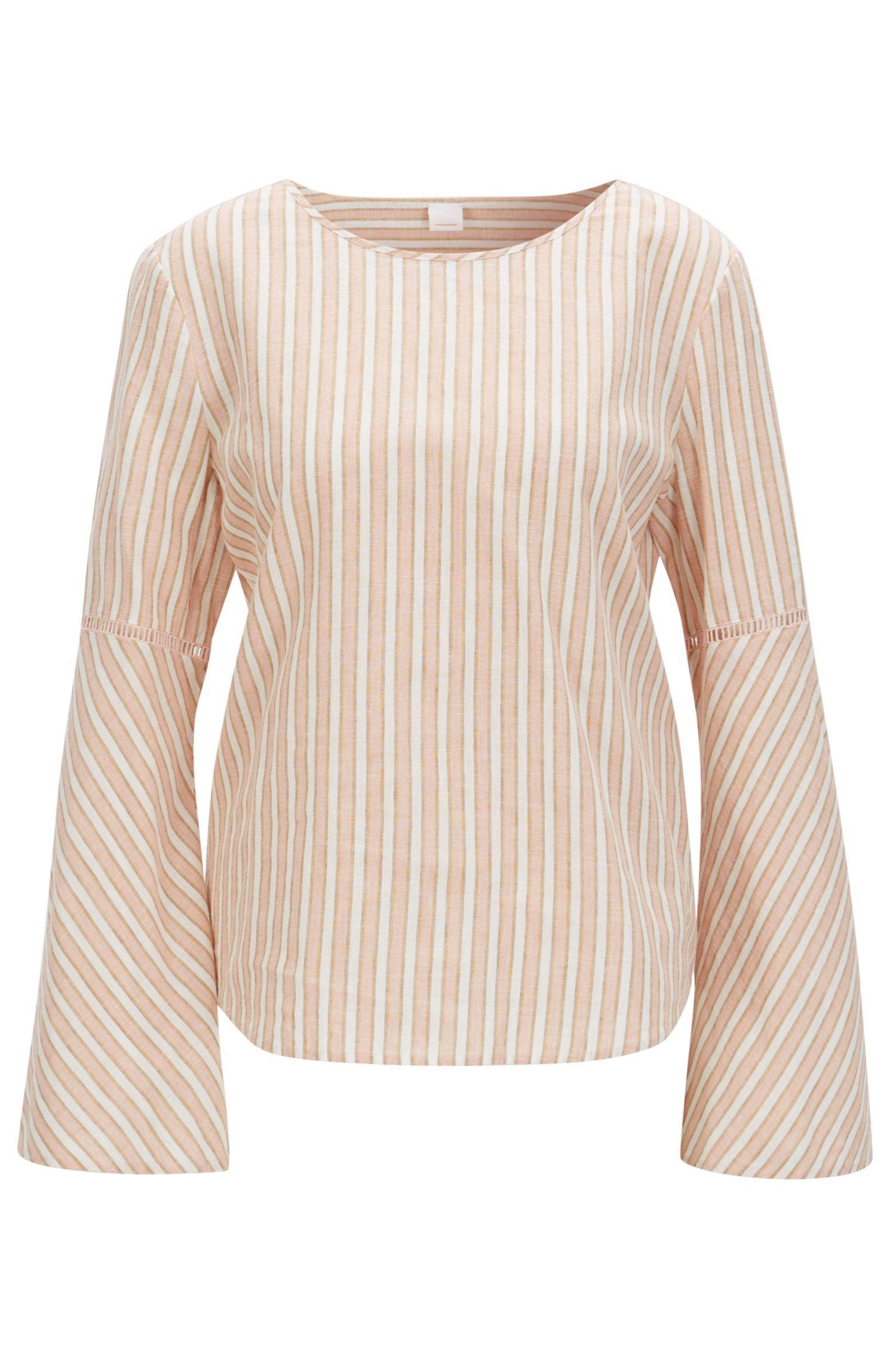 Kragenlose Regular-Fit Bluse aus Leinen-Mix mit Streifen-Dessin
