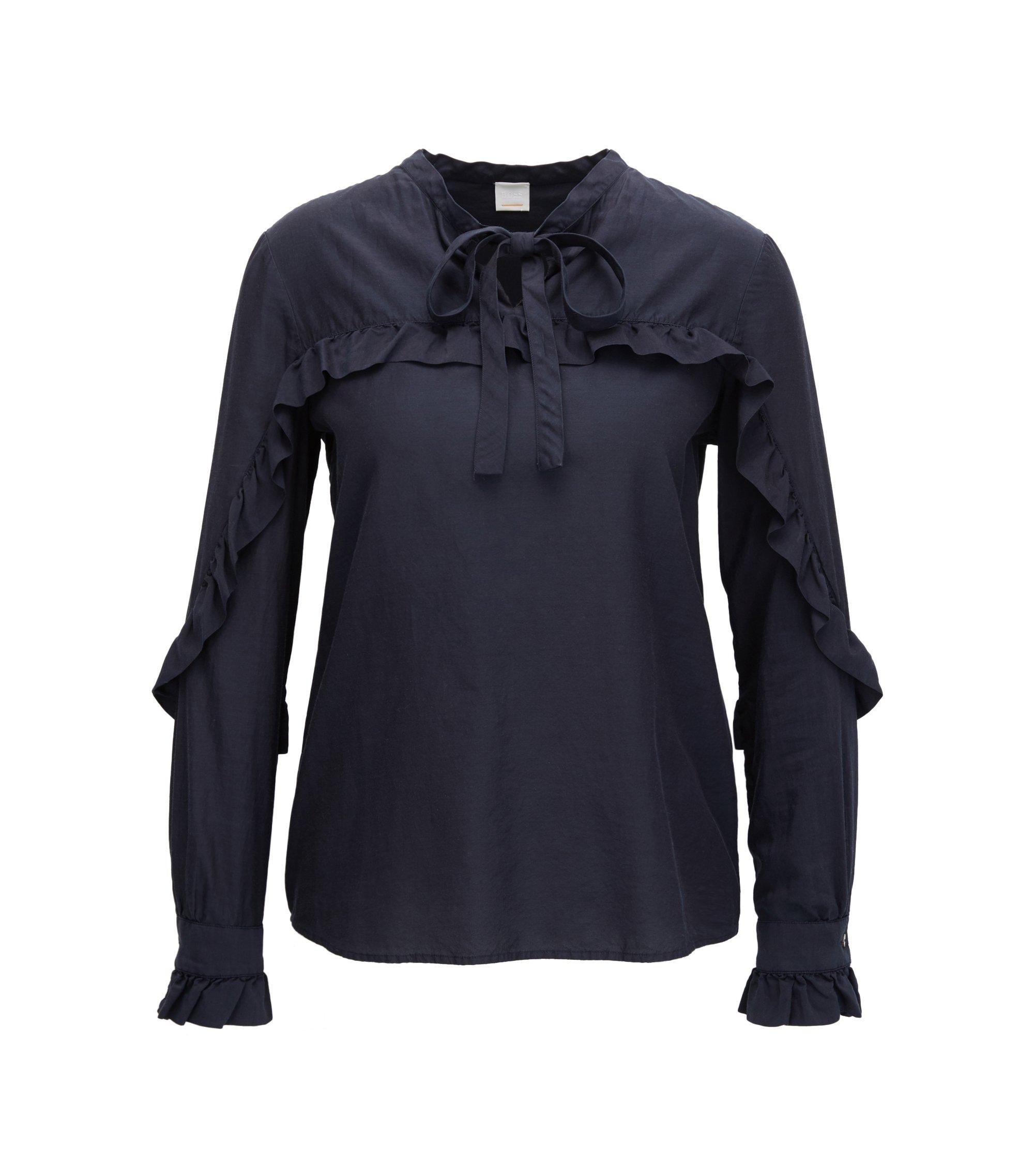Blusa regular fit en mezcla de seda con detalles de volantes, Azul oscuro