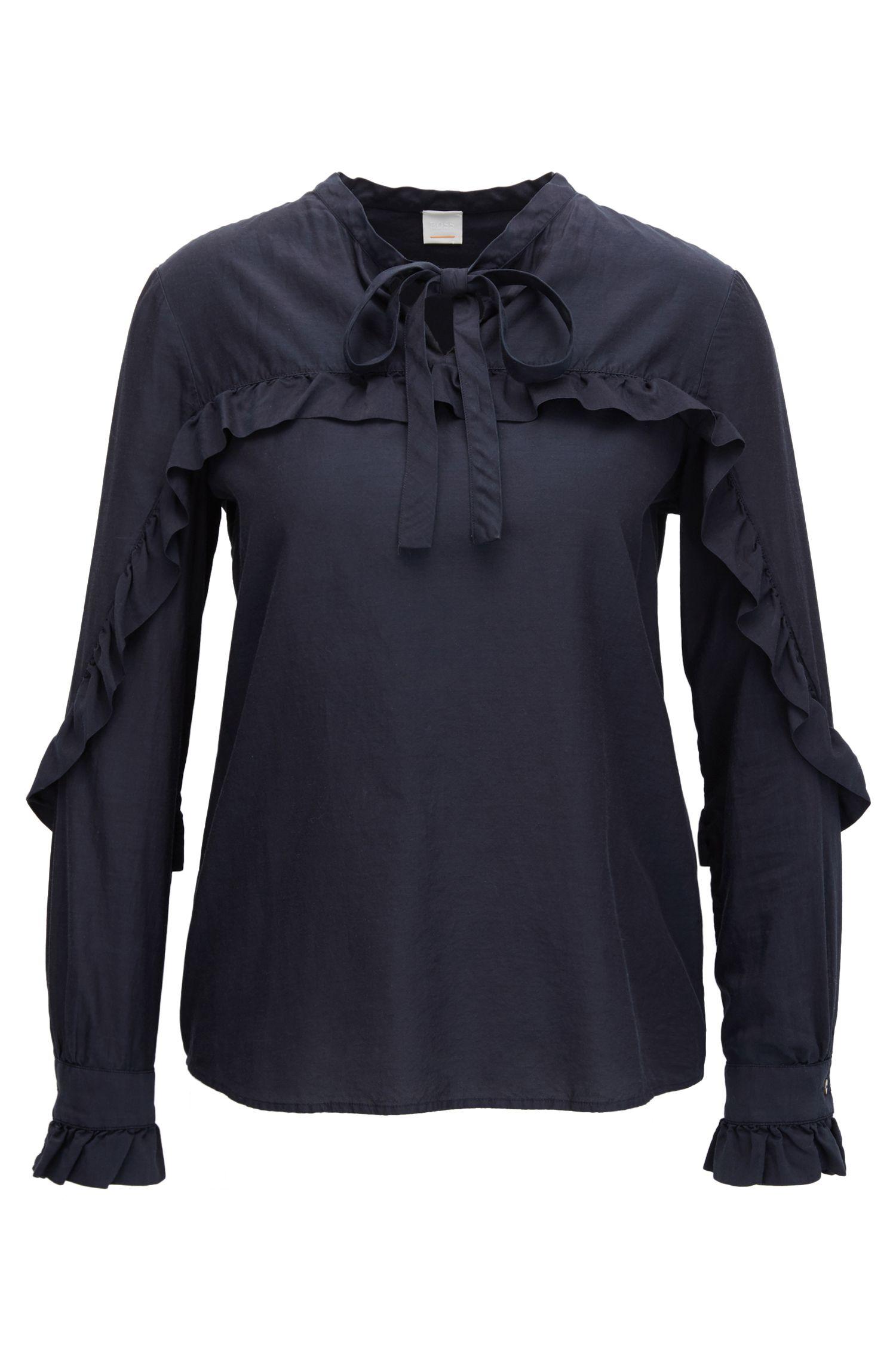 Gerüschte Regular-Fit Bluse aus Seiden-Mix mit Baumwolle