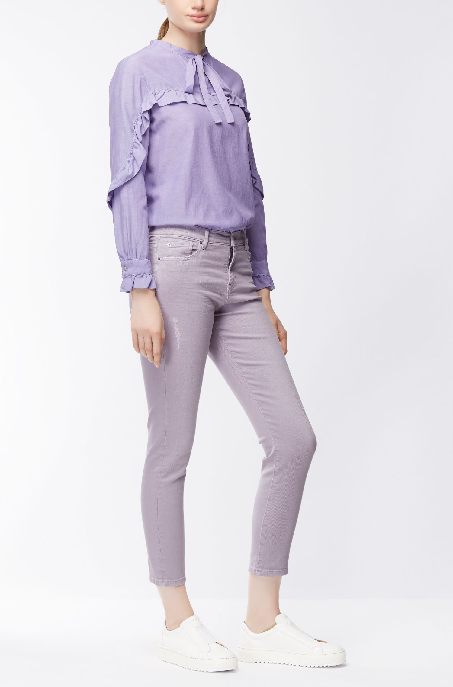 Silk-blend regular-fit blouse with ruffle trims