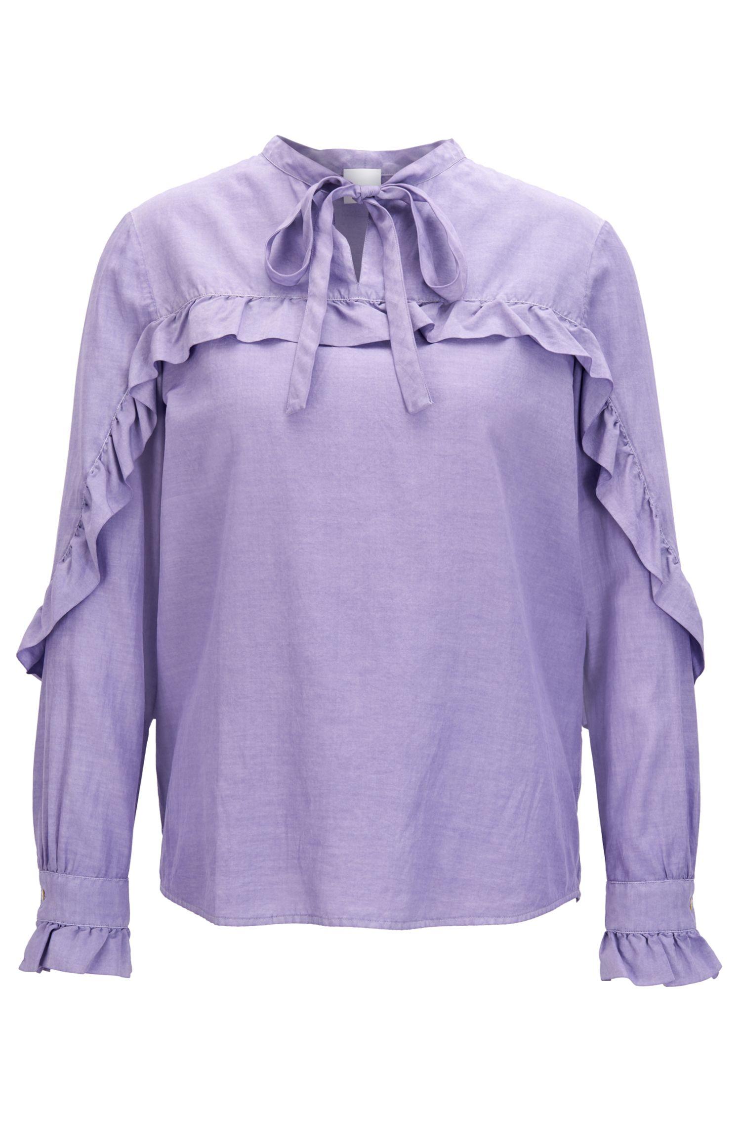 Blusa regular fit en mezcla de seda con detalles de volantes