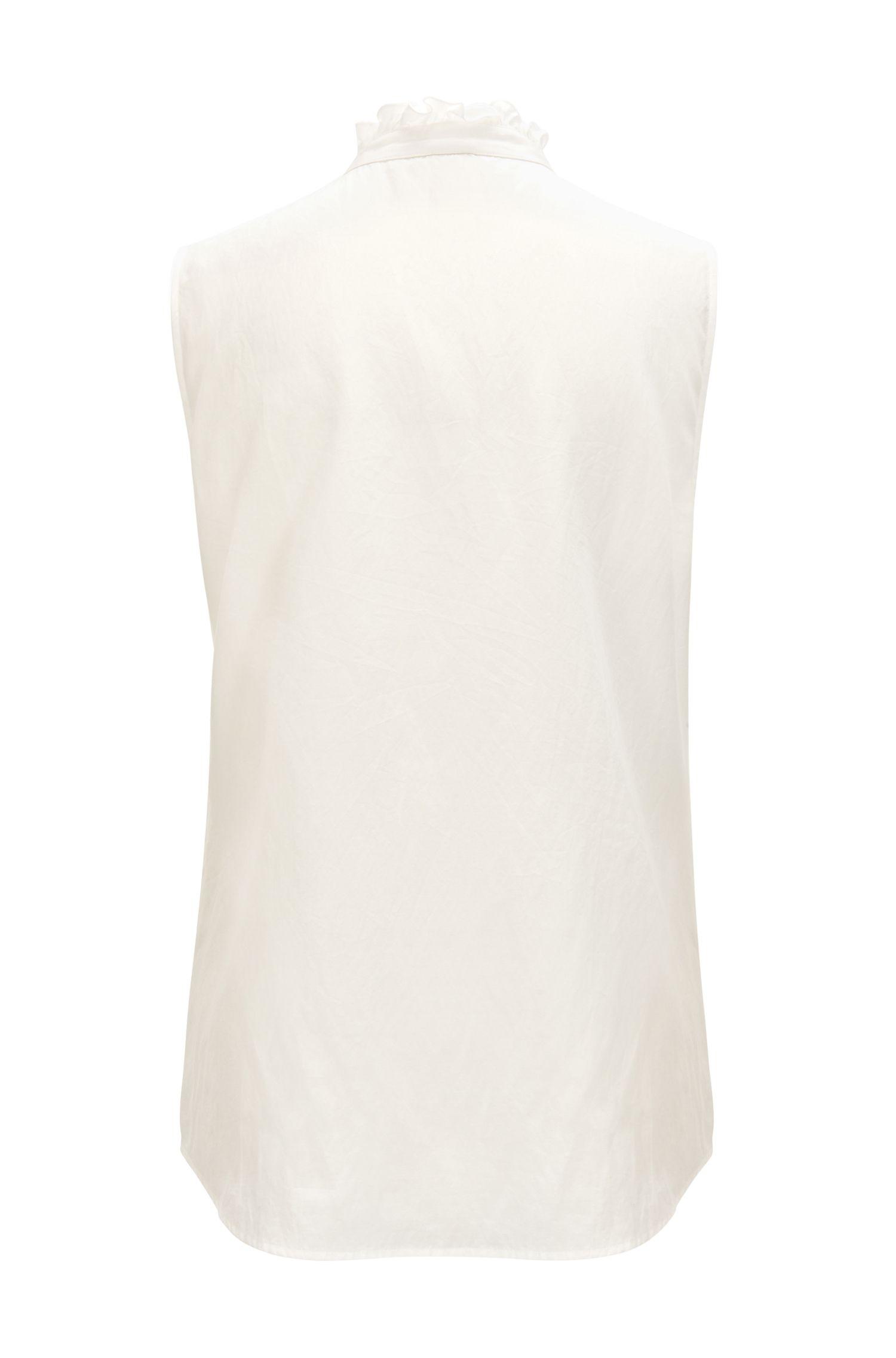 Ärmellose Bluse aus Seiden-Mix mit Baumwolle