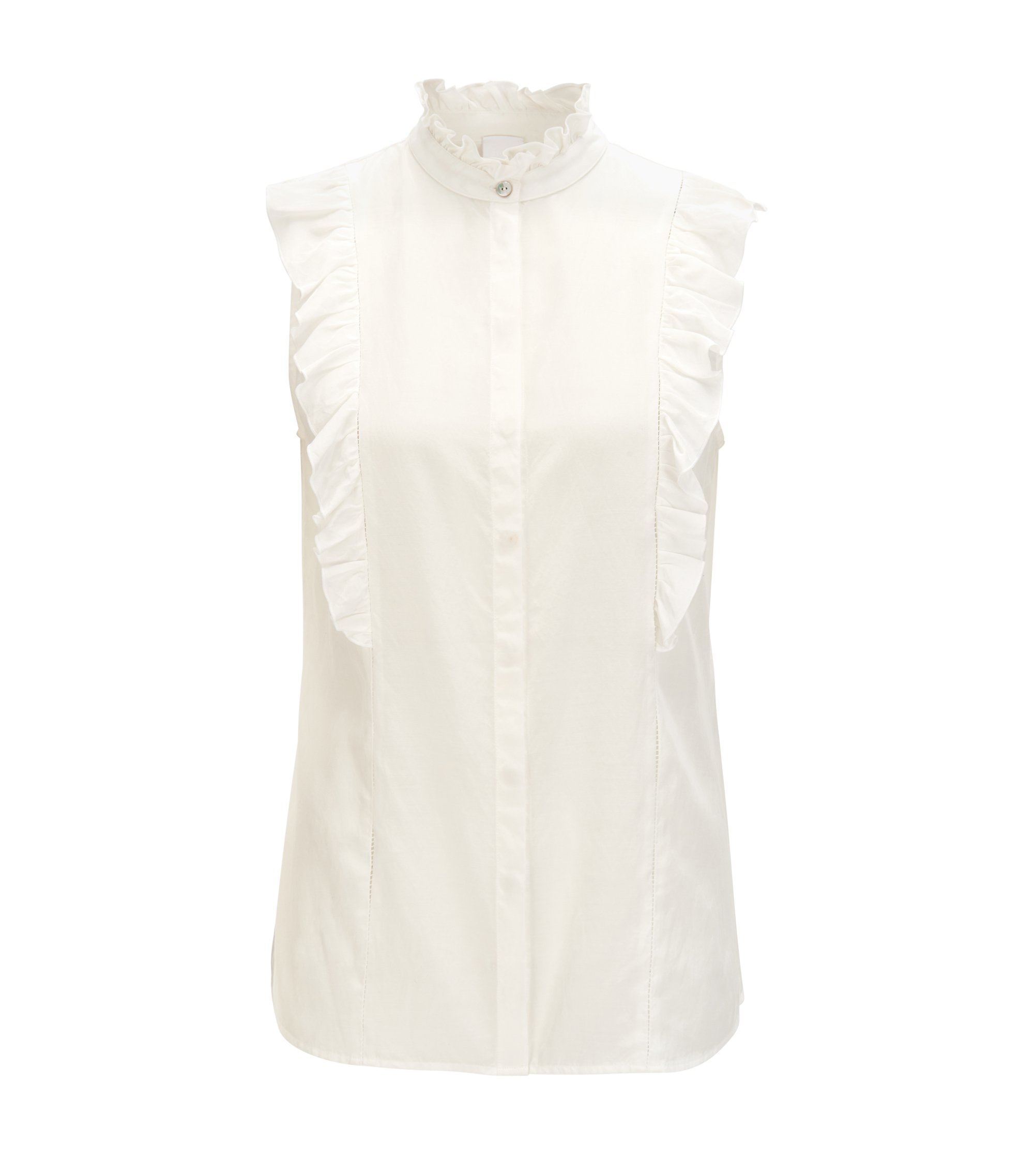 Sleeveless ruffle blouse in a silk-cotton blend, Natural
