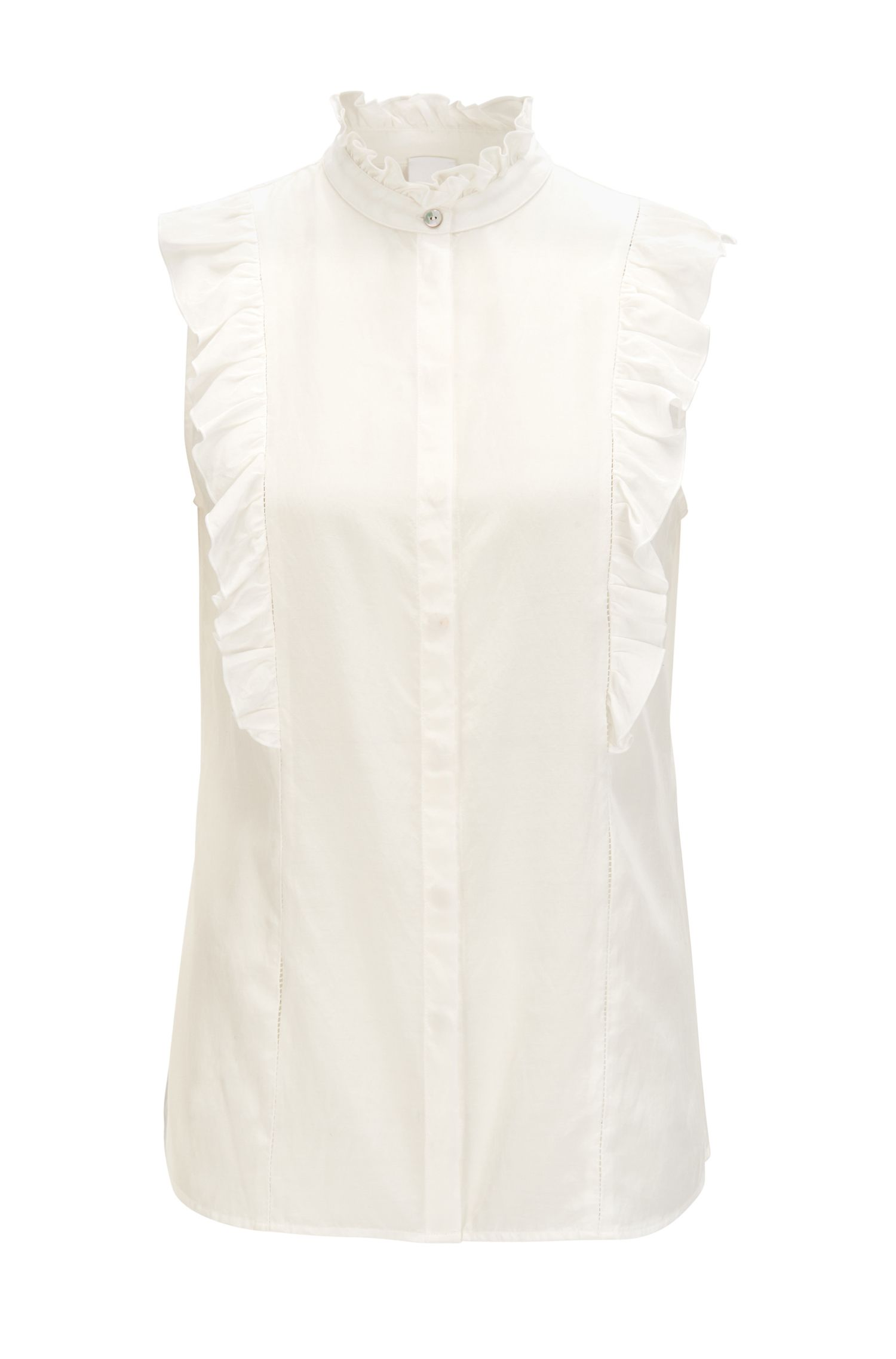Mouwloze blouse van een mix van zijde en katoen met ruches