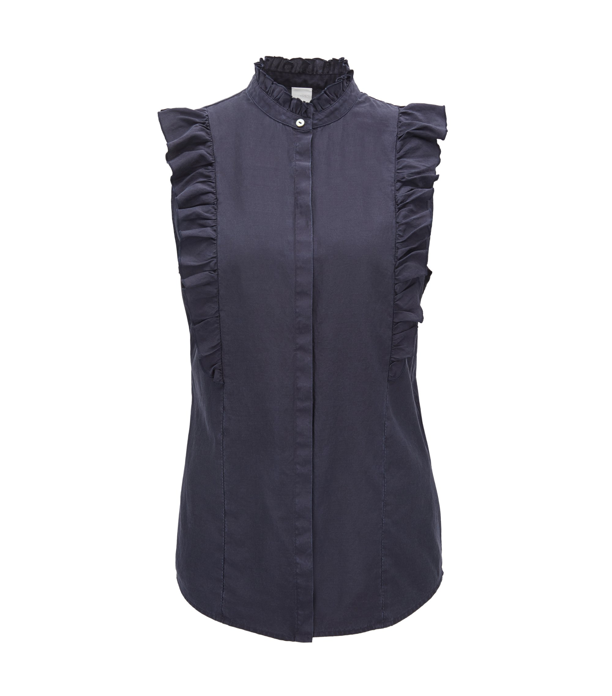 Sleeveless ruffle blouse in a silk-cotton blend, Dark Blue