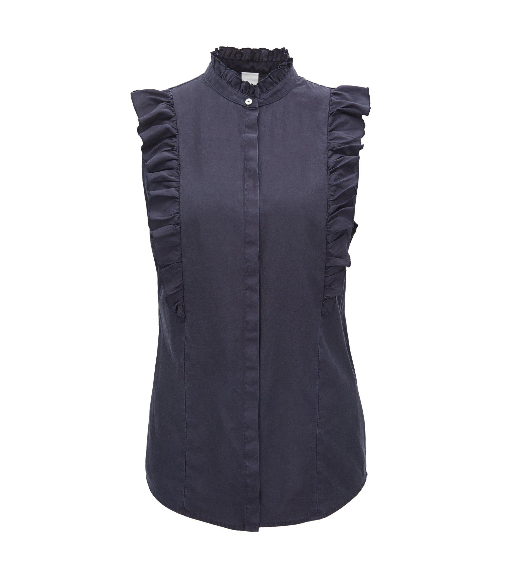 Mouwloze blouse van een mix van zijde en katoen met ruches, Donkerblauw