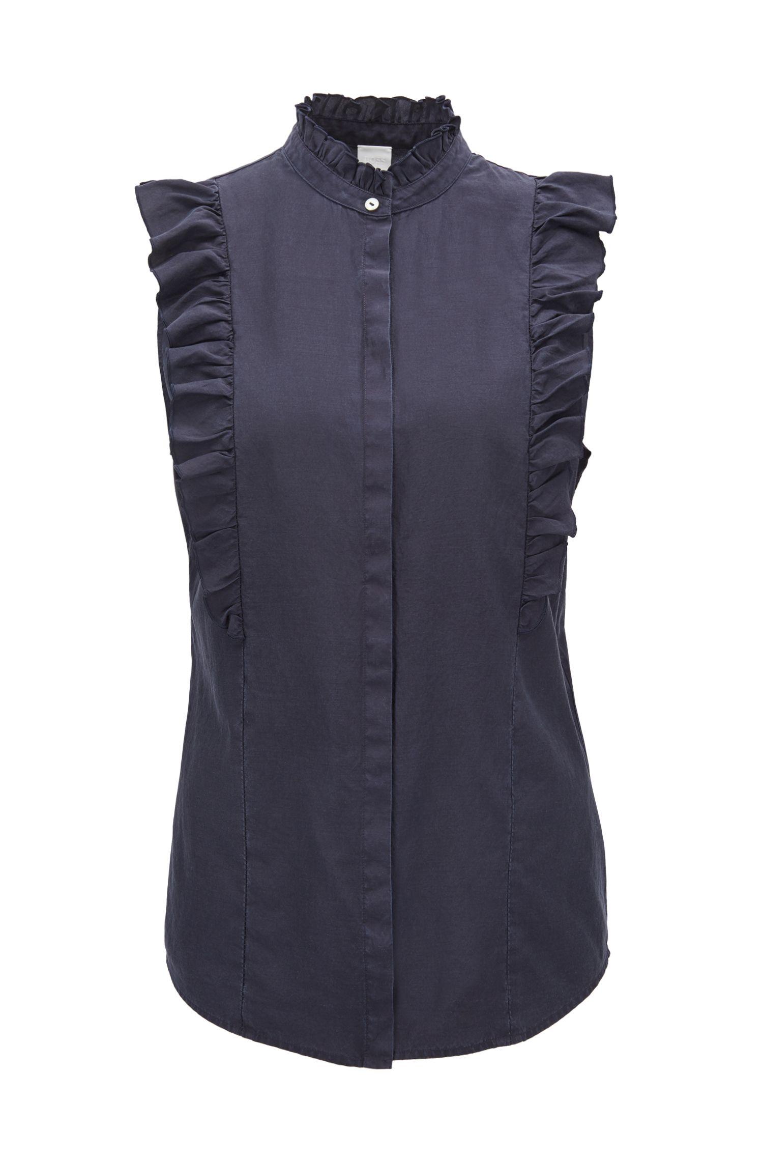 Blusa sin mangas en mezcla de seda con algodón y volantes