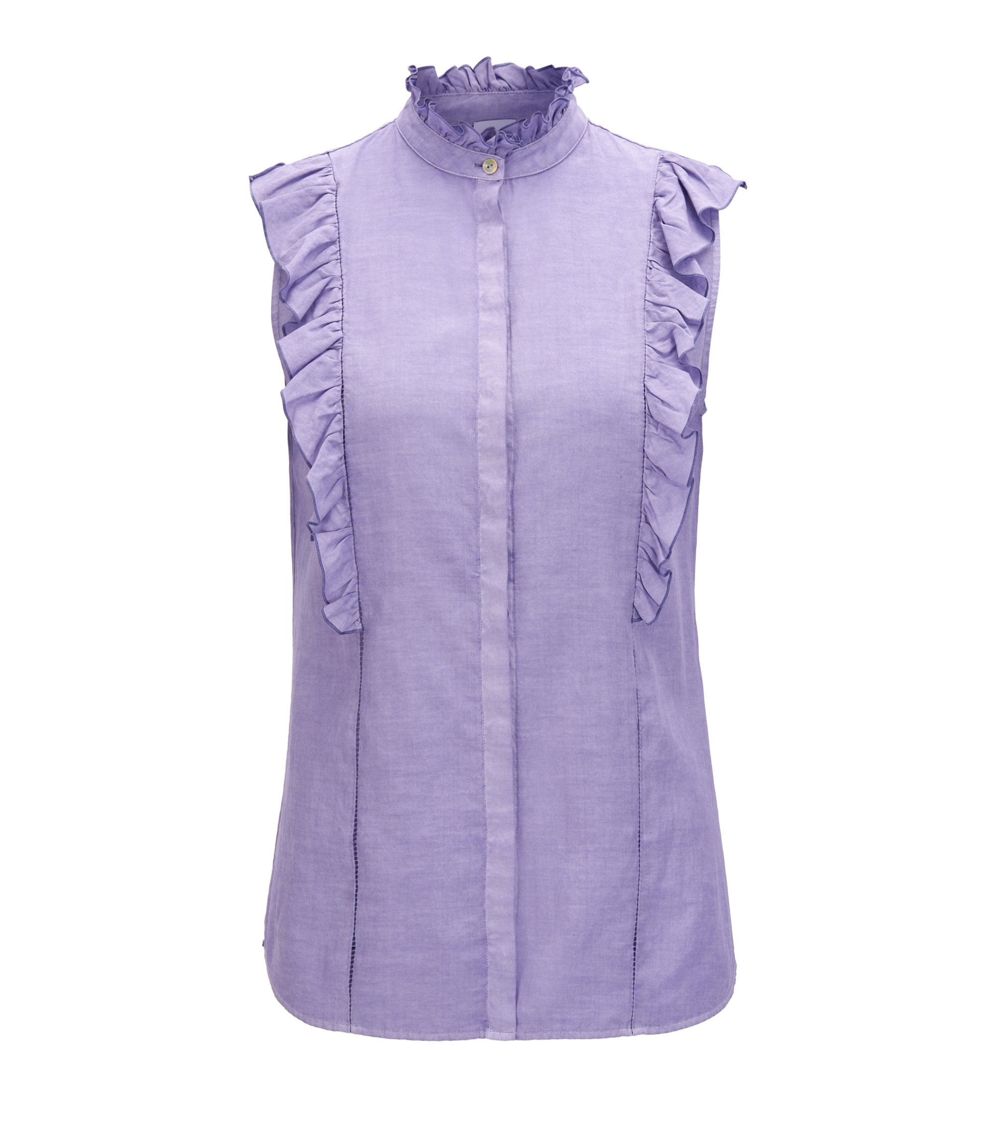 Sleeveless ruffle blouse in a silk-cotton blend, Purple