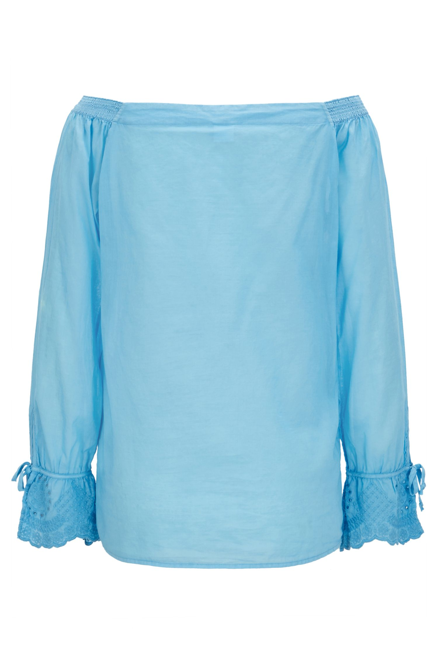 Off-the-shoulder cotton blouse with embroidered cuffs, Light Blue