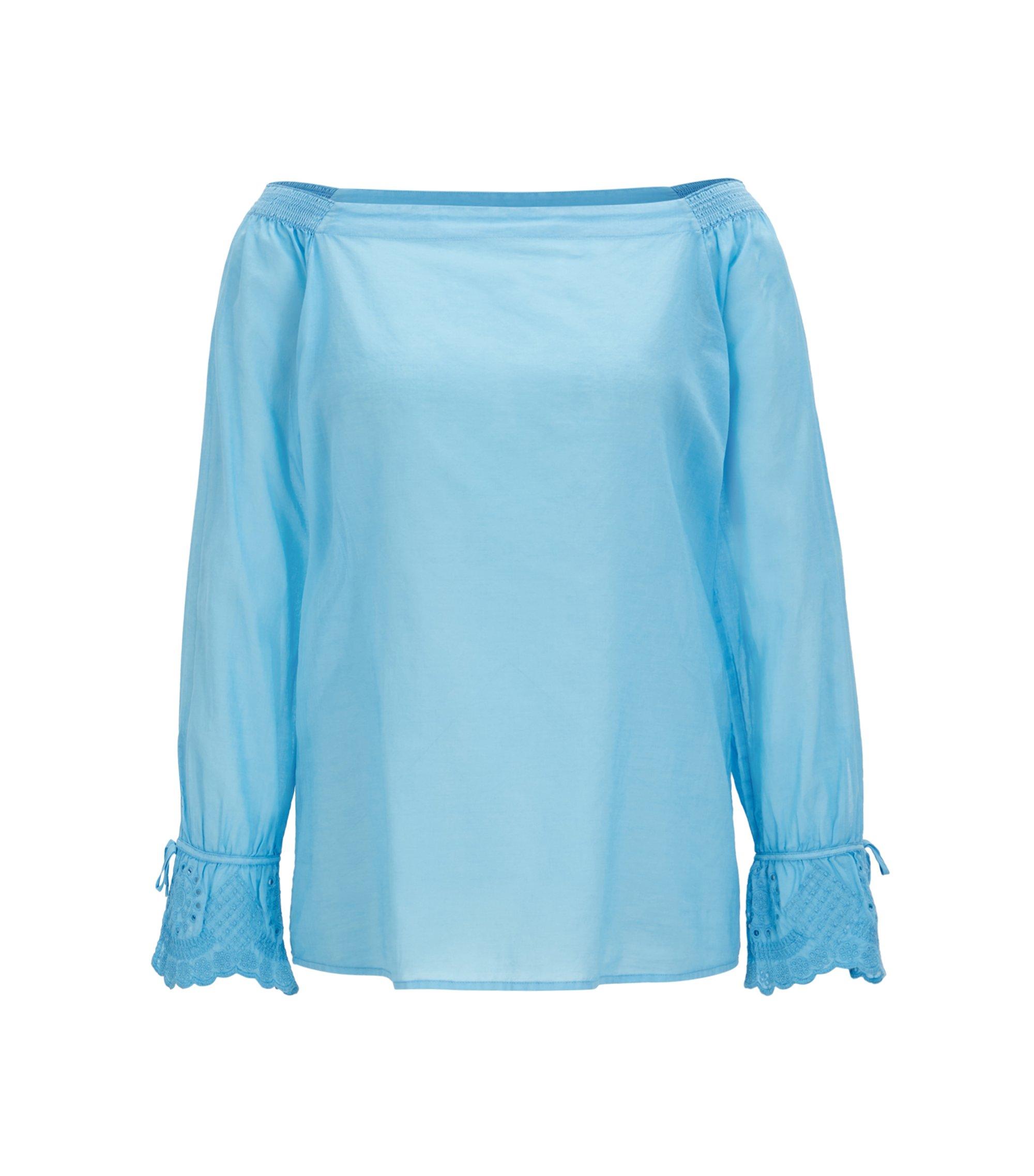Chemisier en coton à épaules dénudées et poignets brodés, Bleu vif