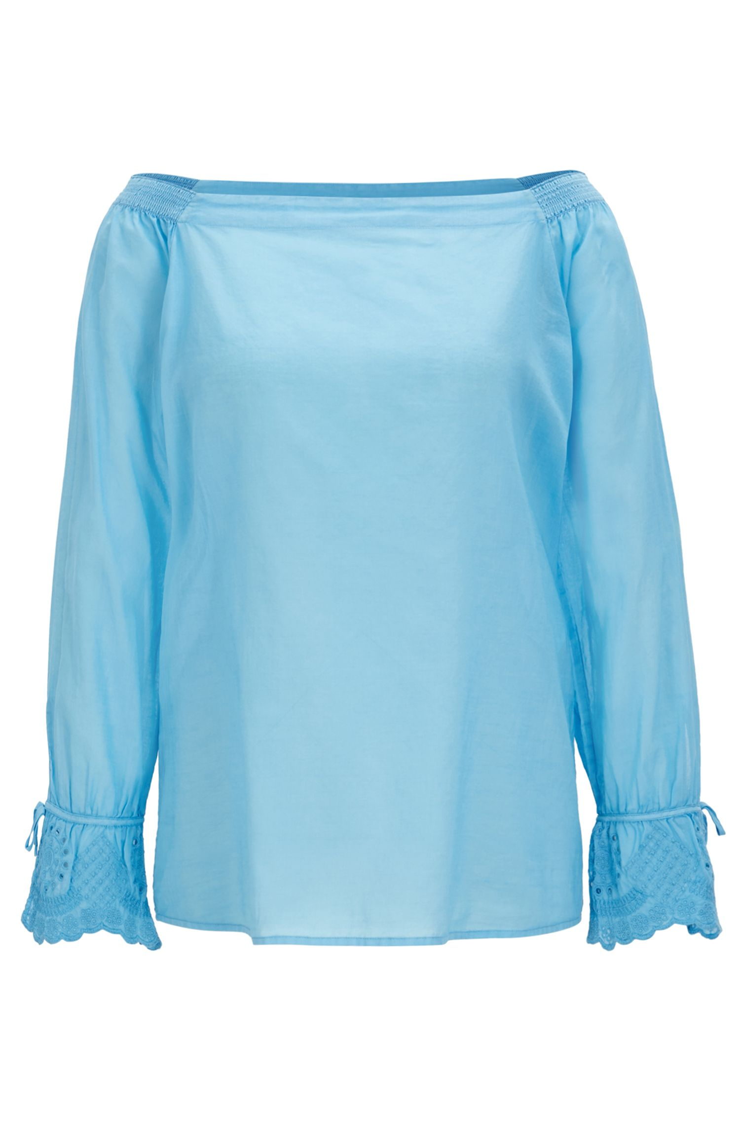 Off-the-shoulder cotton blouse with embroidered cuffs