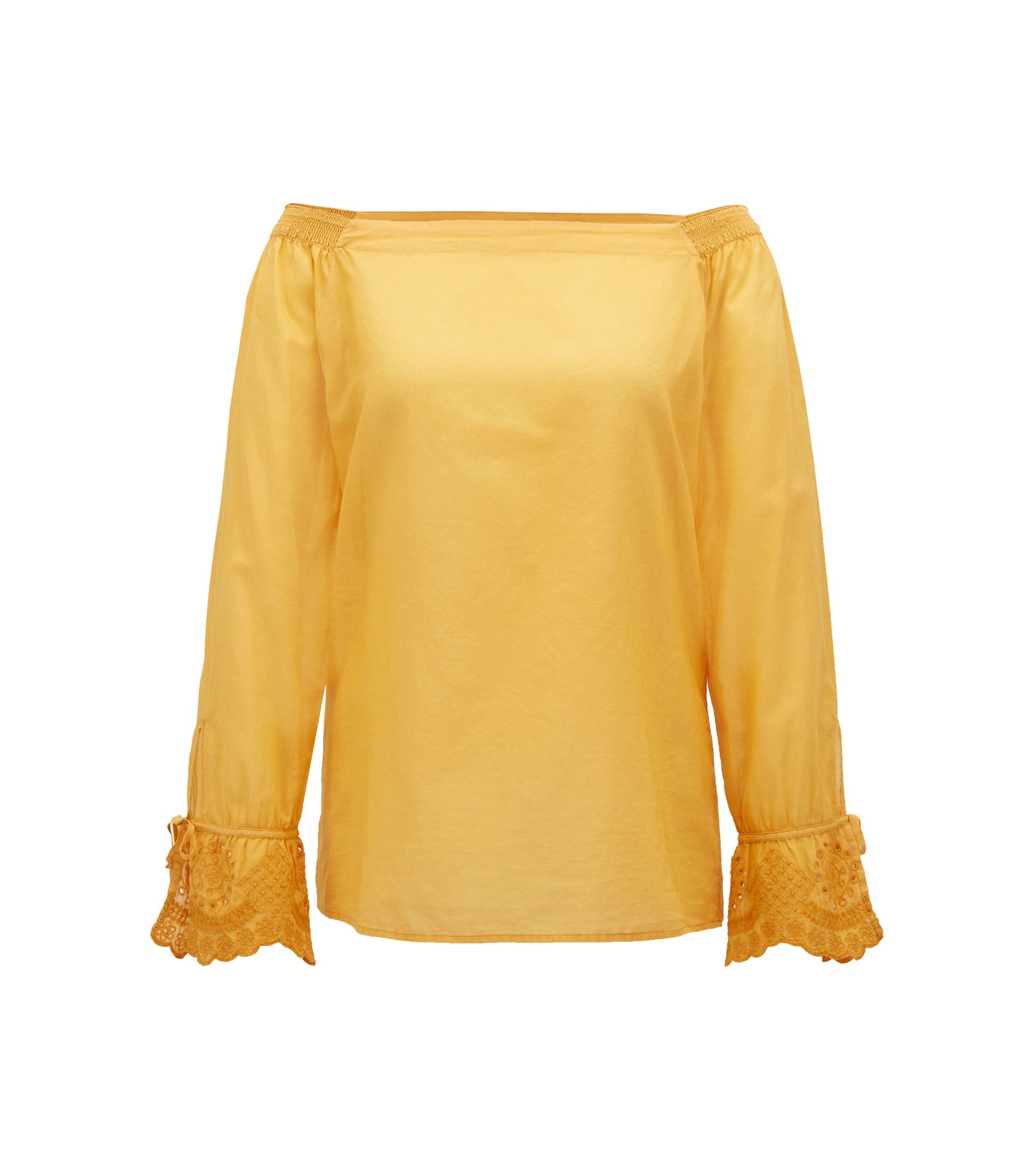 Off-the-shoulder cotton blouse with embroidered cuffs, Dark Yellow