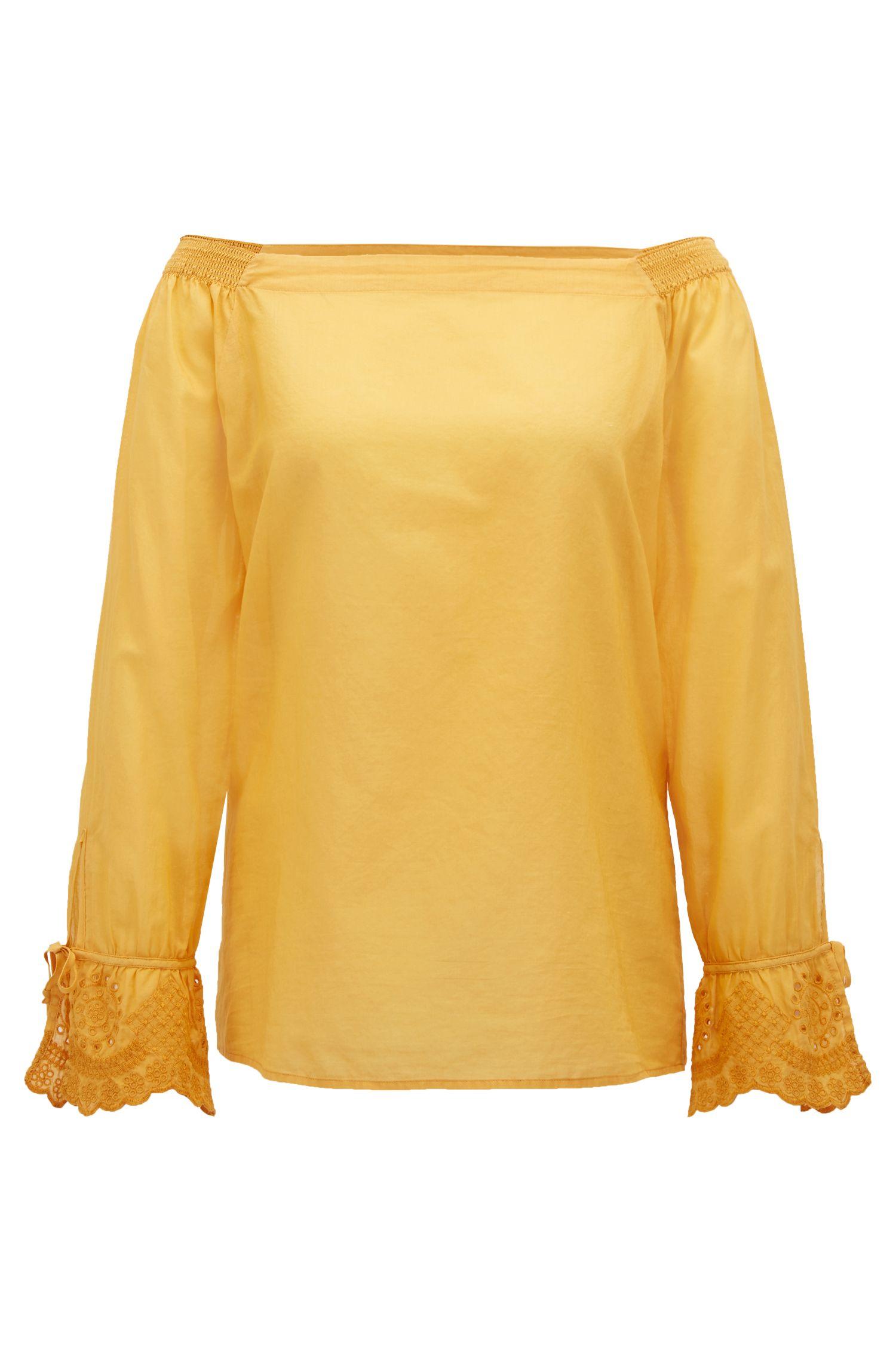 Schulterfreie Bluse aus Baumwolle mit bestickten Ärmelbündchen