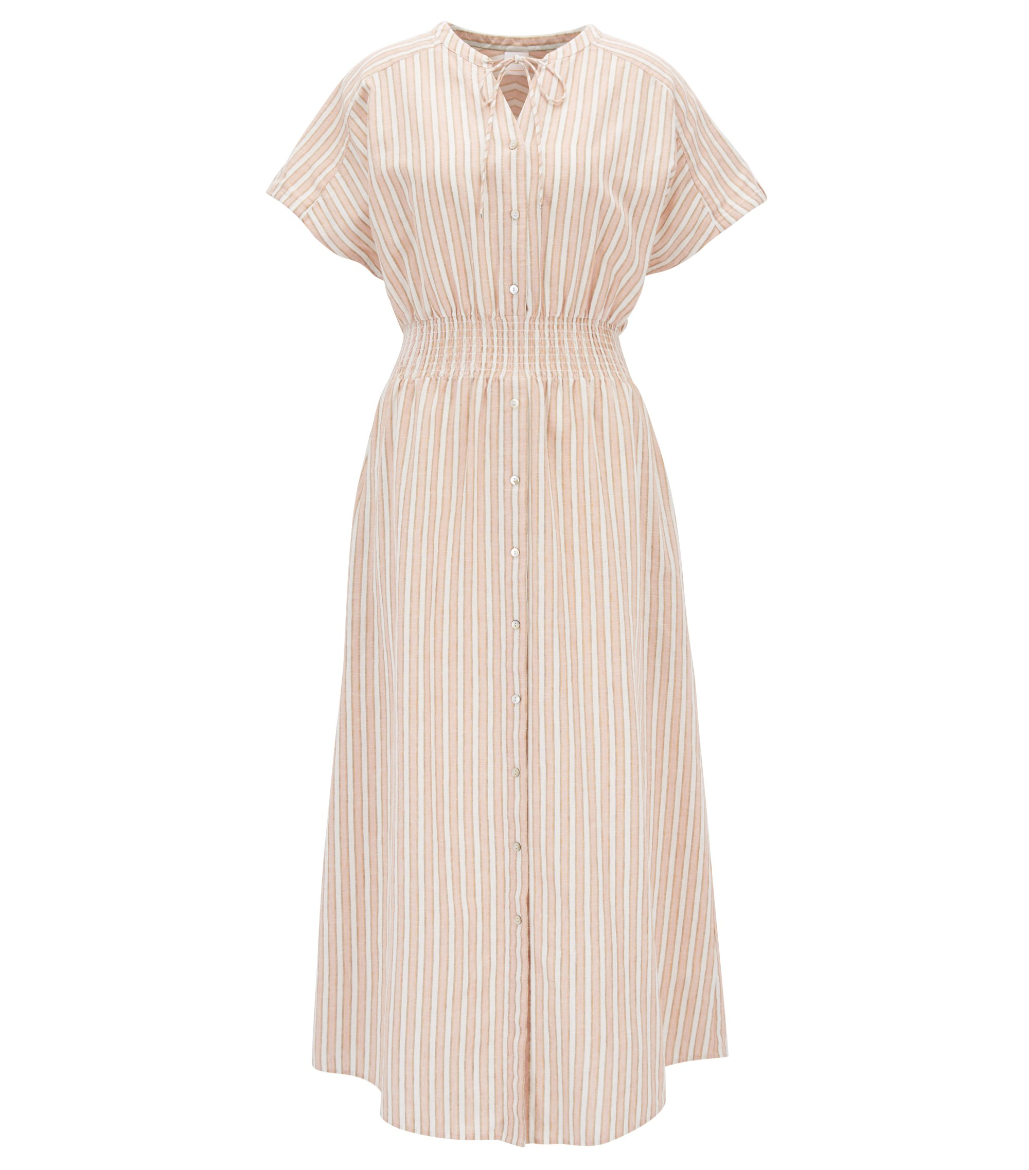Linen-blend striped dress with smocked waist, light pink