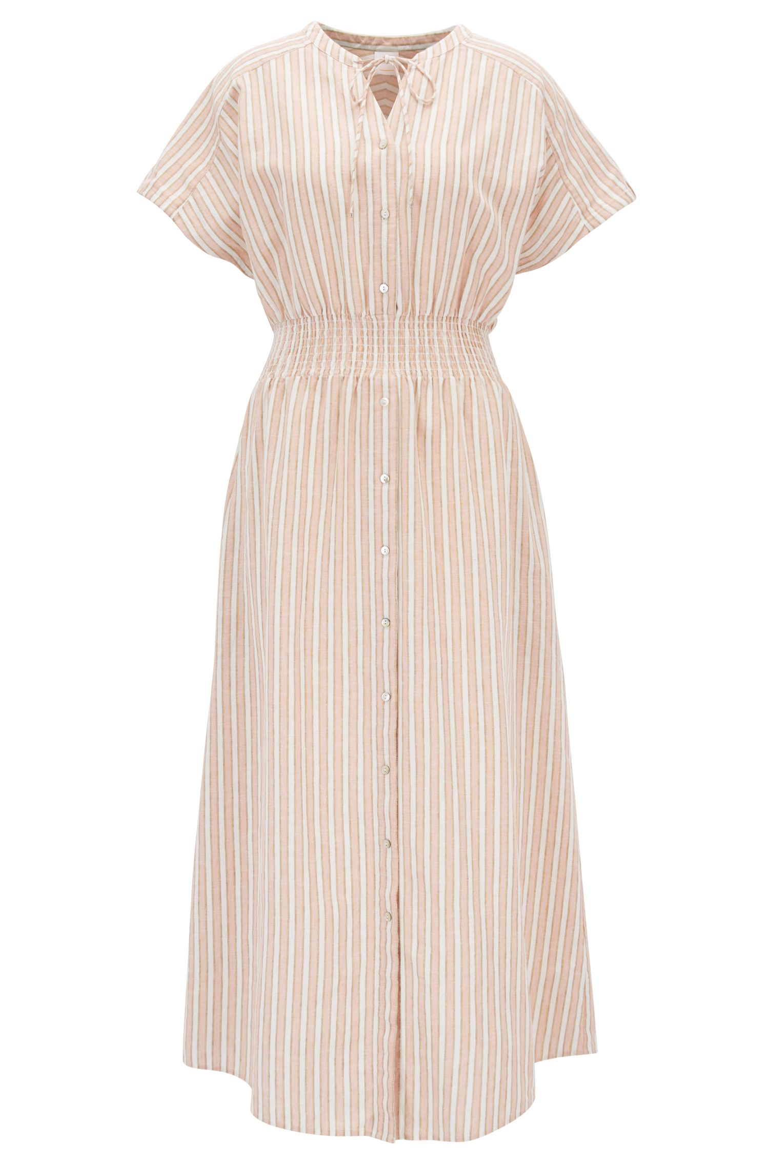 Linen-blend striped dress with smocked waist