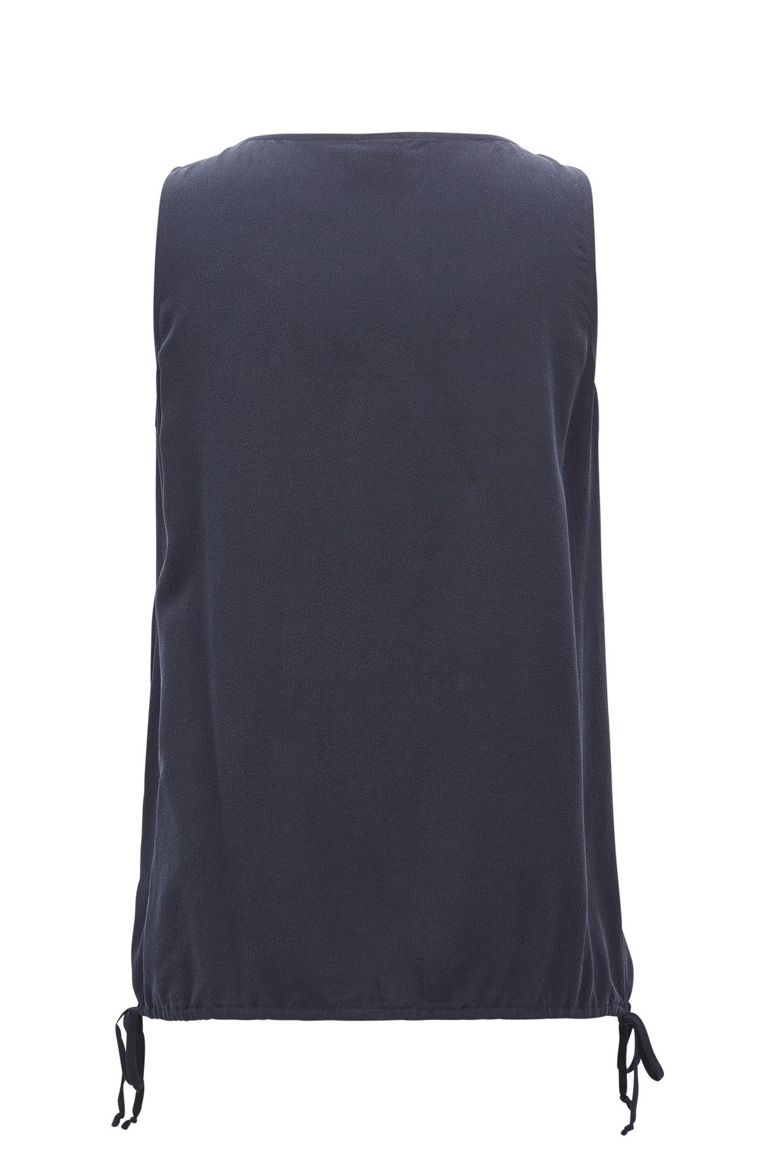 Top en soie sans manches avec cordon de serrage à la base