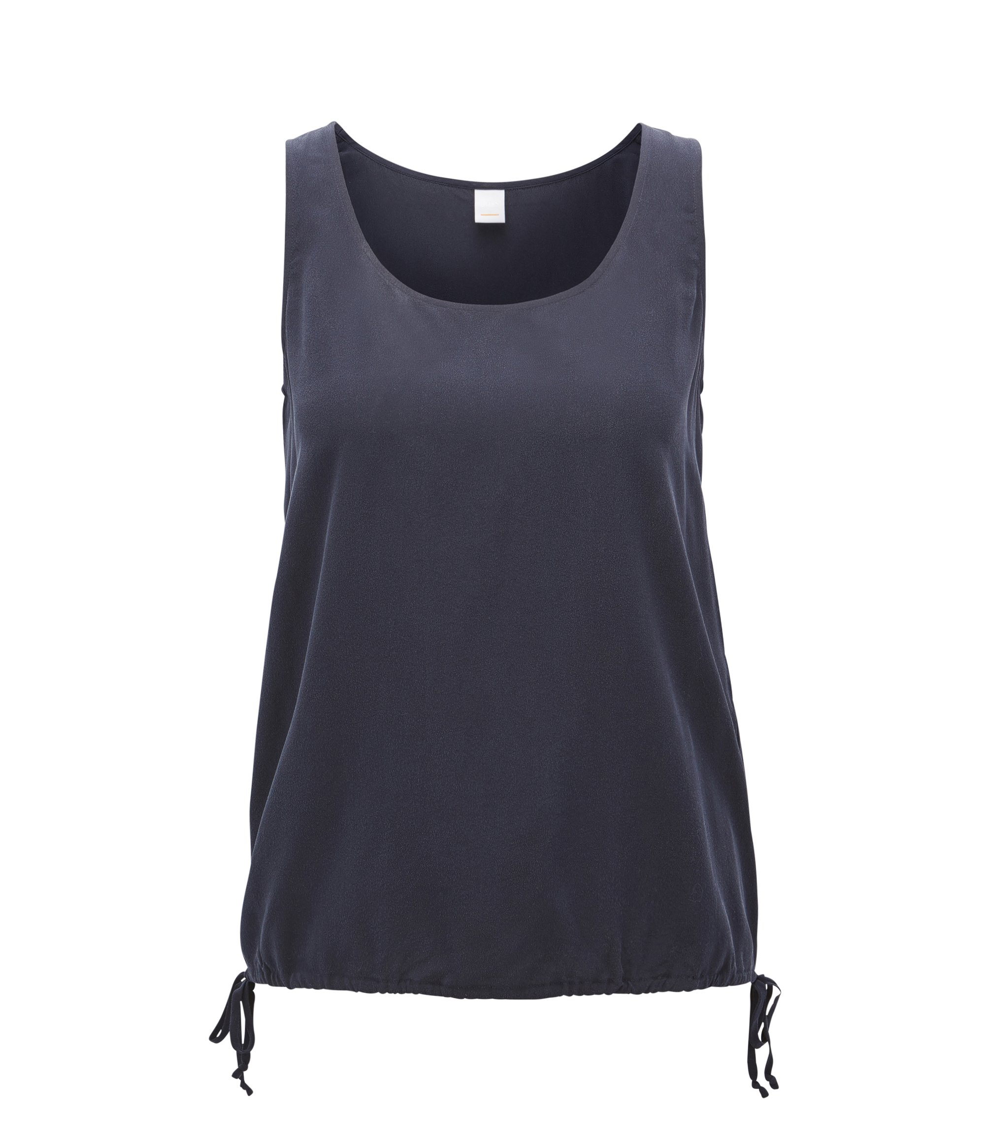 Sleeveless silk top with drawstring hem, Dark Blue