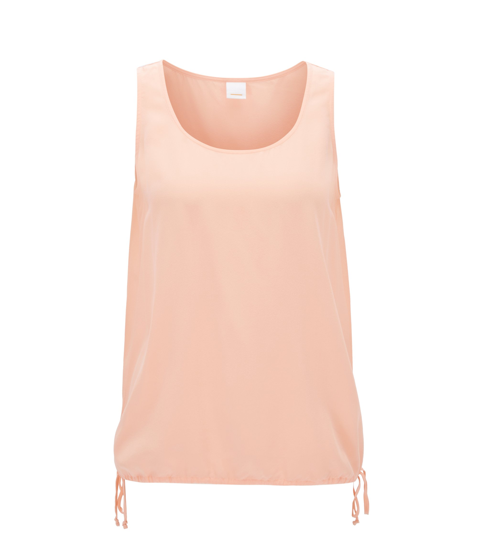 Sleeveless silk top with drawstring hem, light pink
