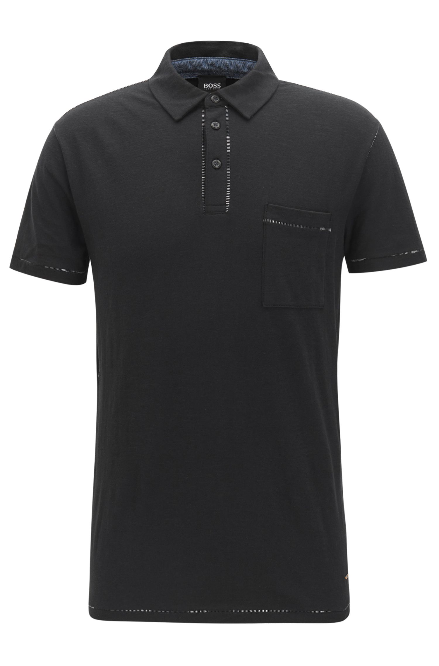 Relaxed-fit pick-stitch polo shirt in cotton