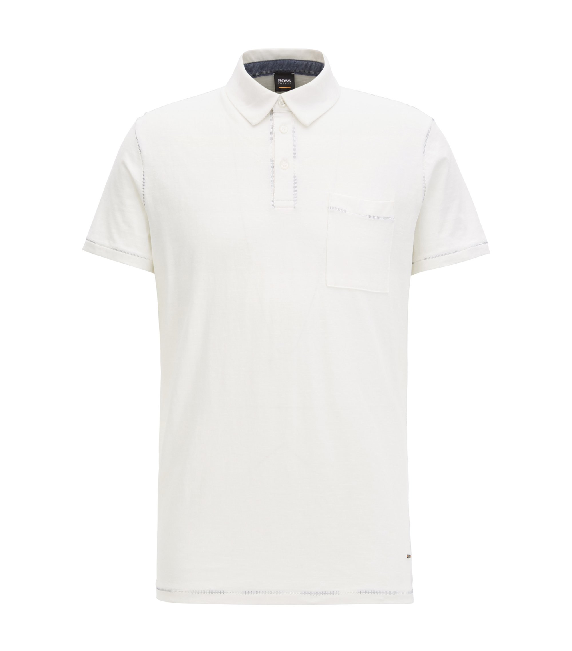 Polo relaxed fit con impunture in cotone, Naturale