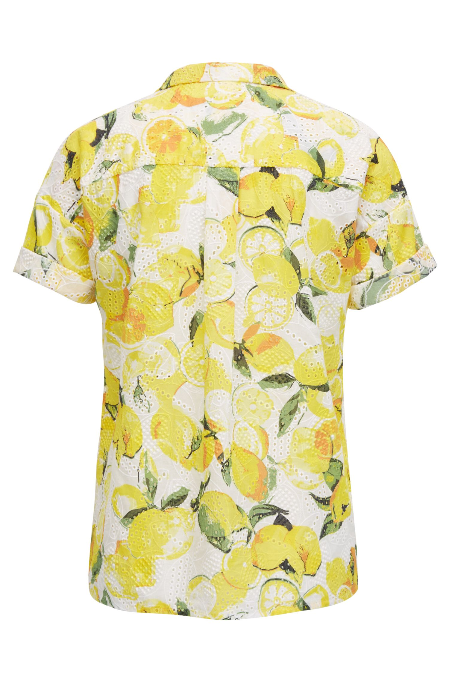 Cotton broderie-anglaise blouse with lemon print
