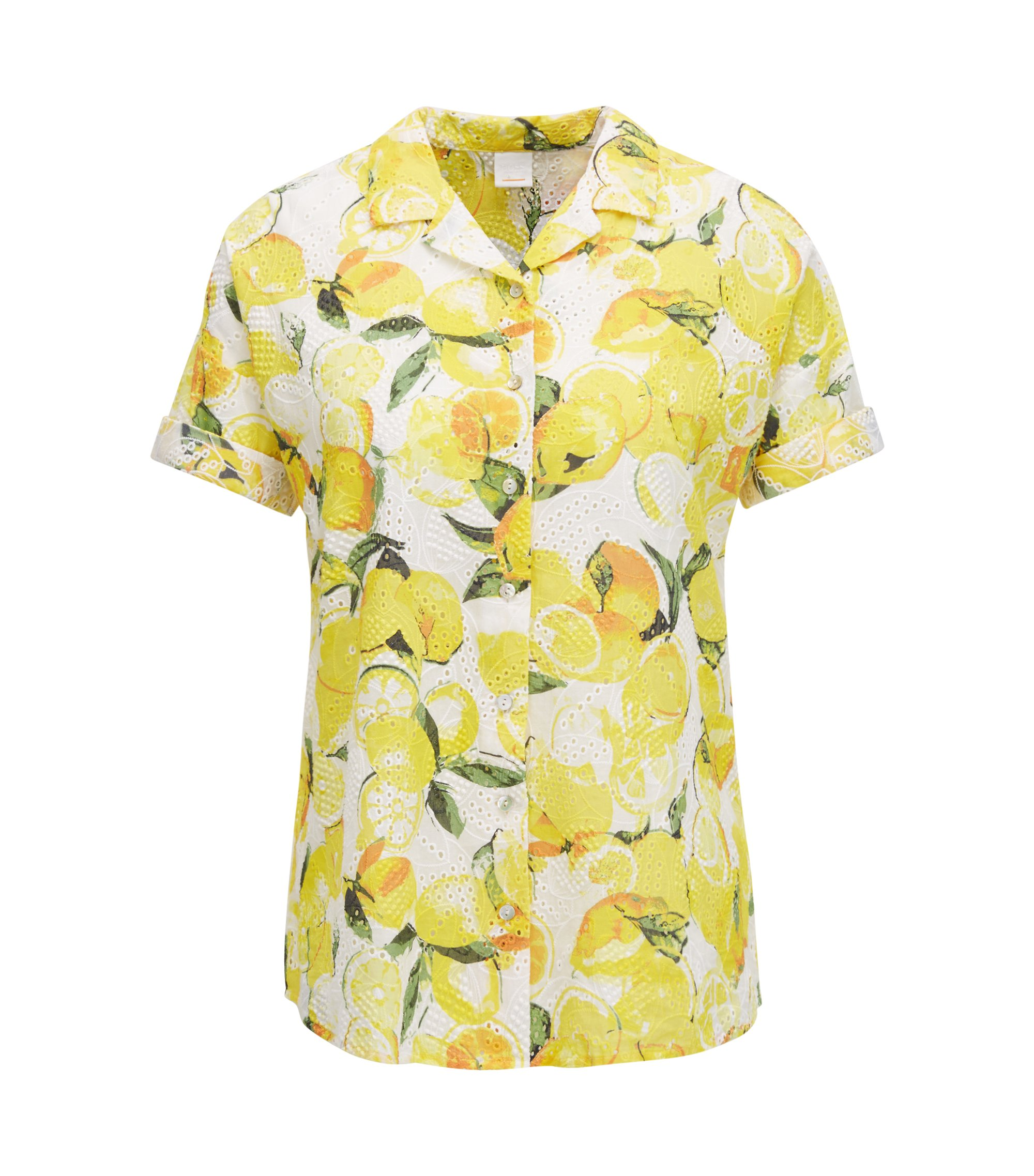 Cotton broderie-anglaise blouse with lemon print, Patterned