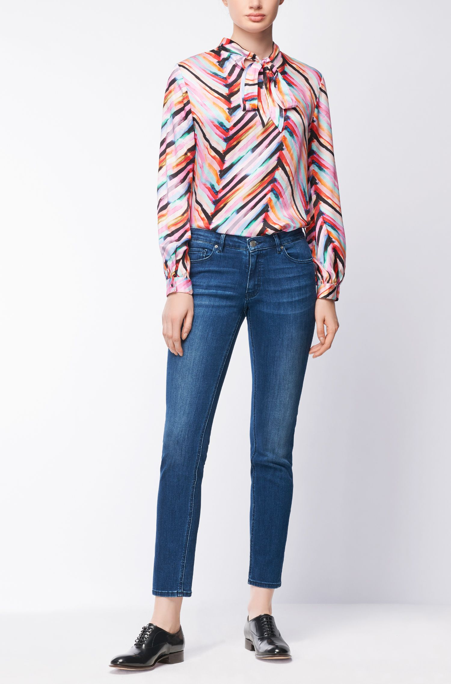 Regular-fit blouse with all-over print