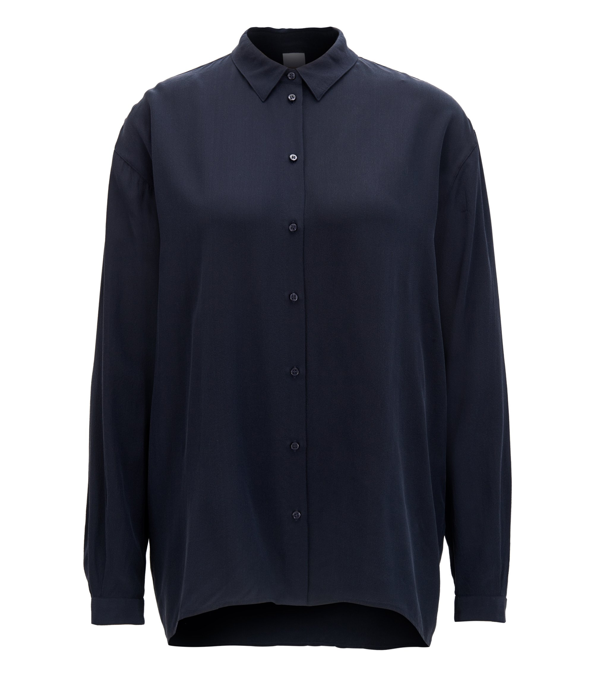 Oversized-fit blouse in pure silk , Dark Blue