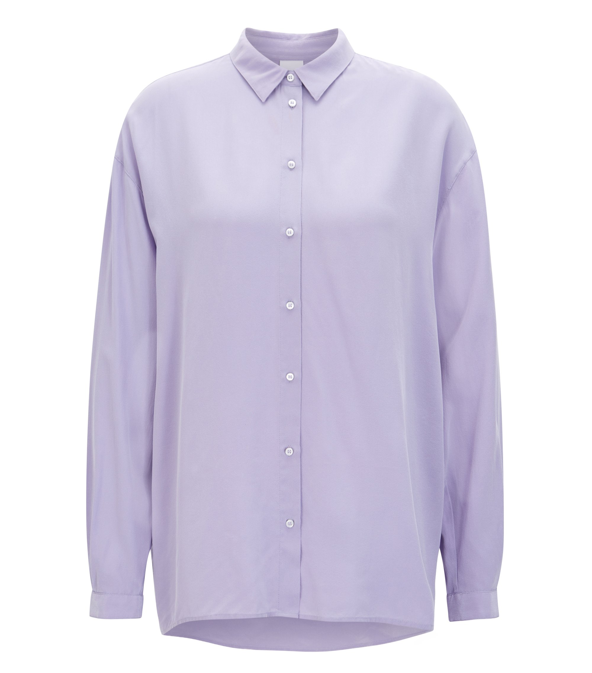 Oversized-fit blouse in pure silk , Purple