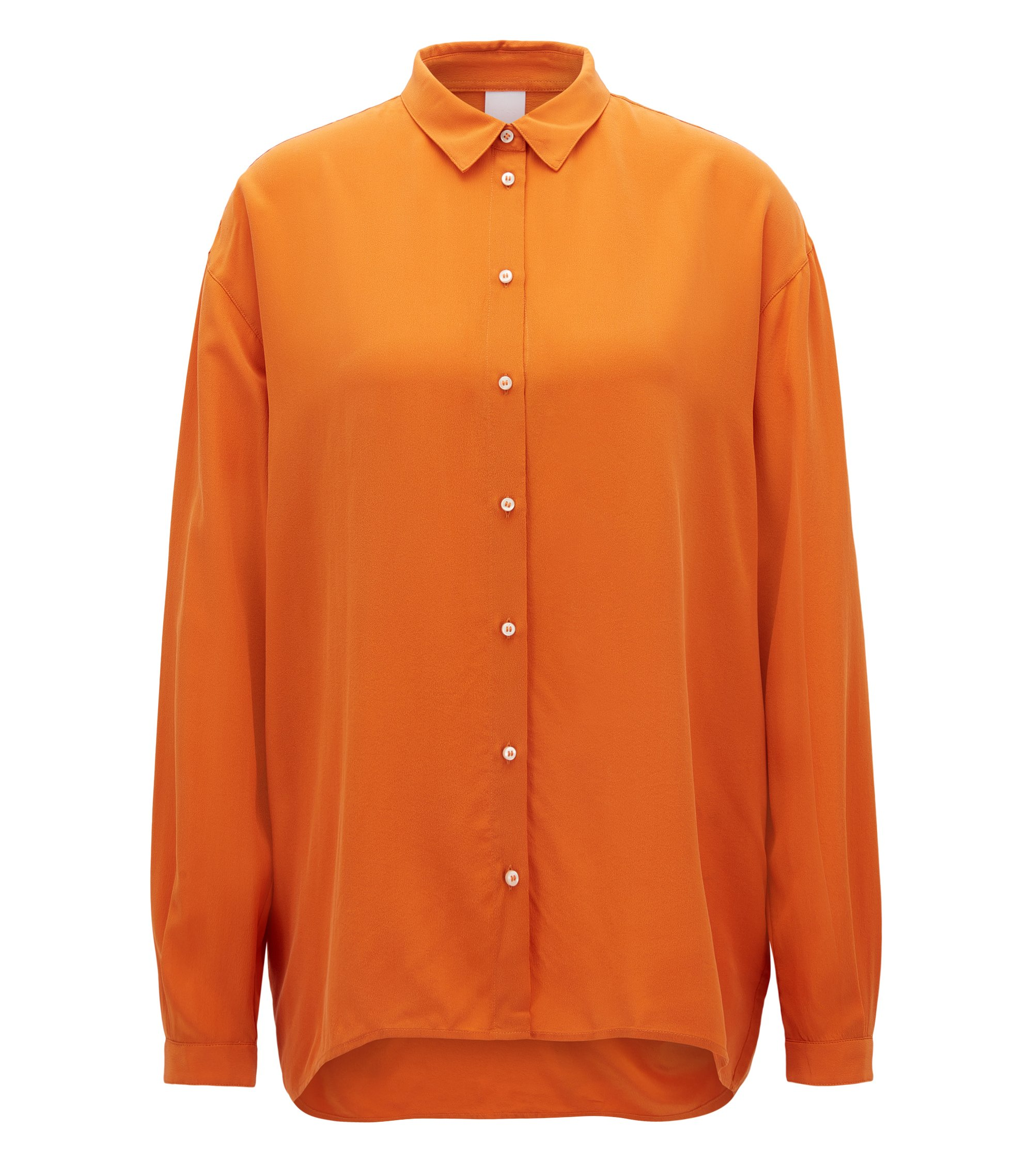 Oversized-fit blouse in pure silk , Orange