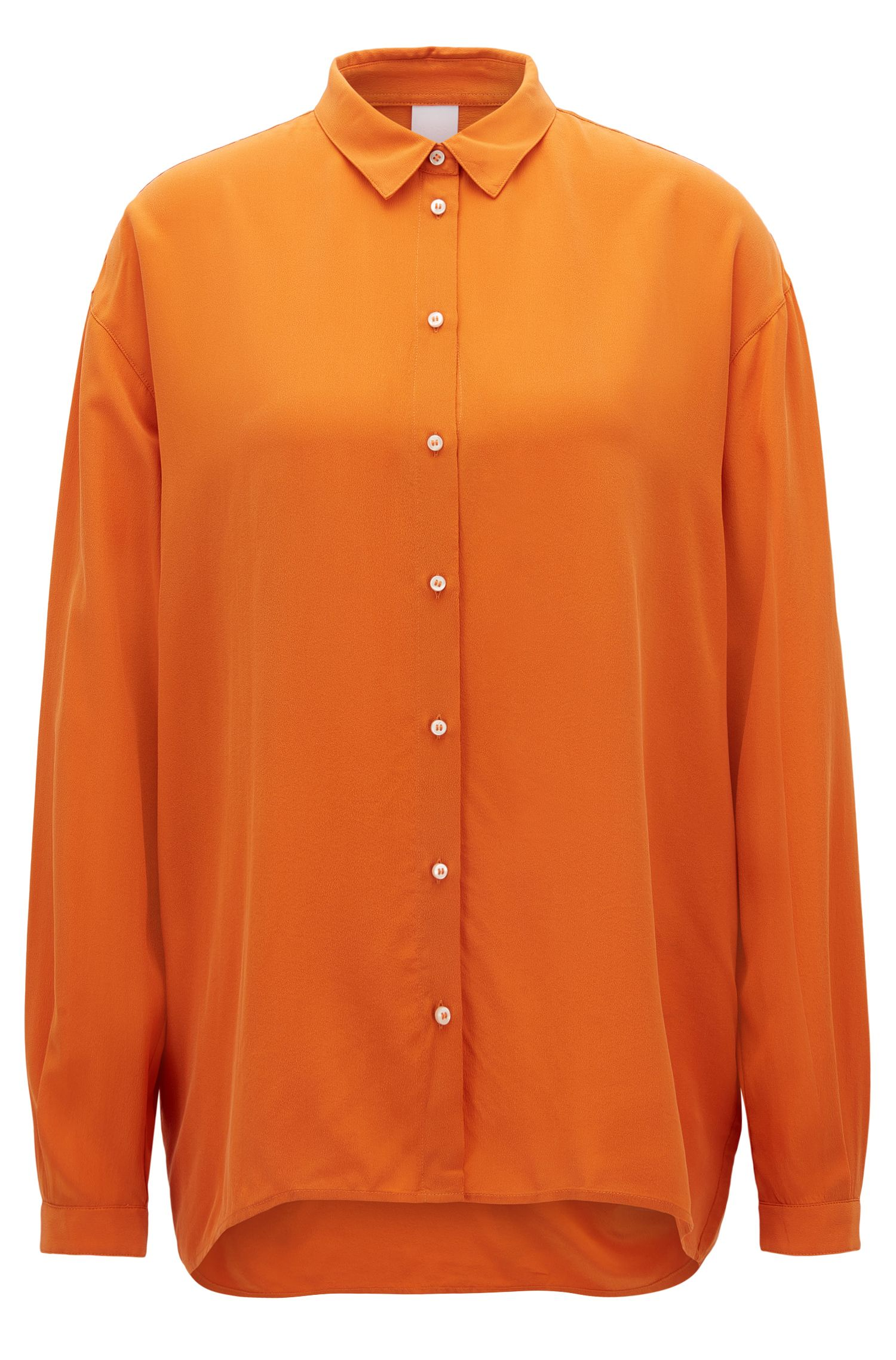 Oversized-fit blouse in pure silk