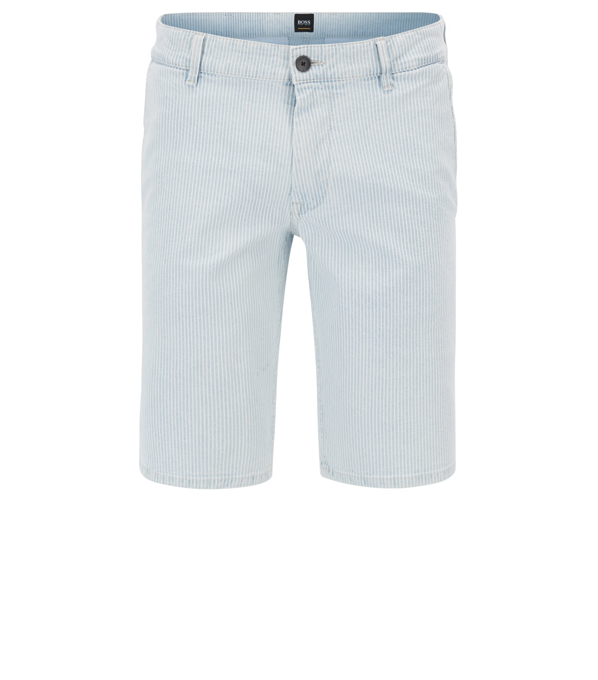 Bleached-denim shorts with diagonal stripe, Light Blue