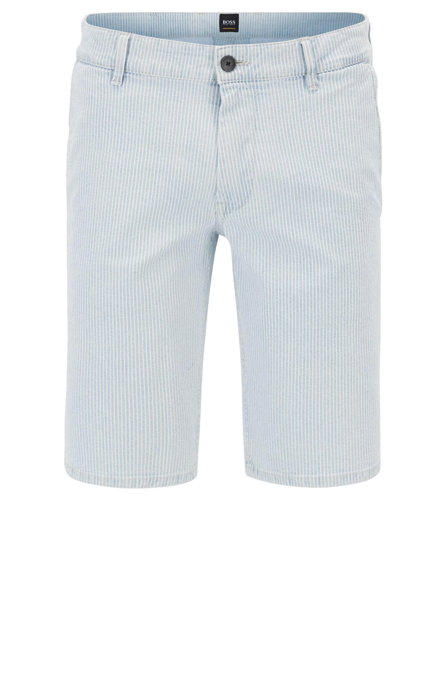 Bleached-denim shorts with diagonal stripe