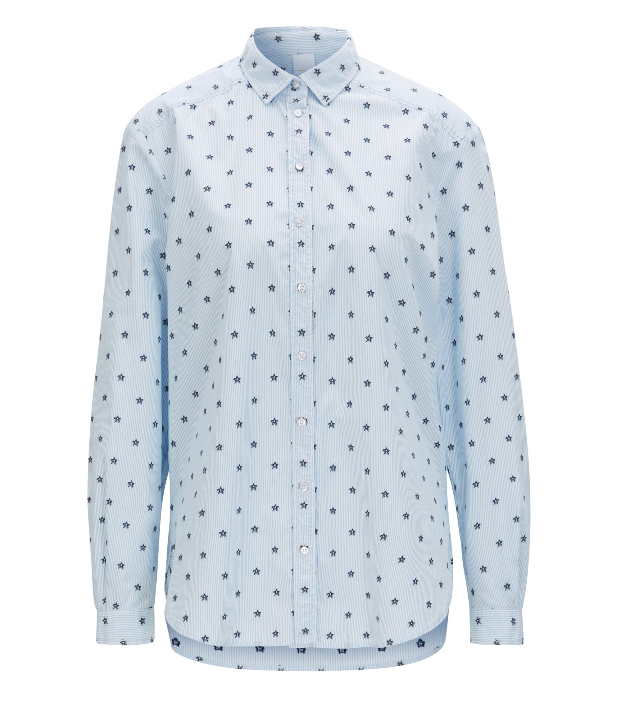 Relaxed-fit blouse in patterned cotton jacquard, Light Blue