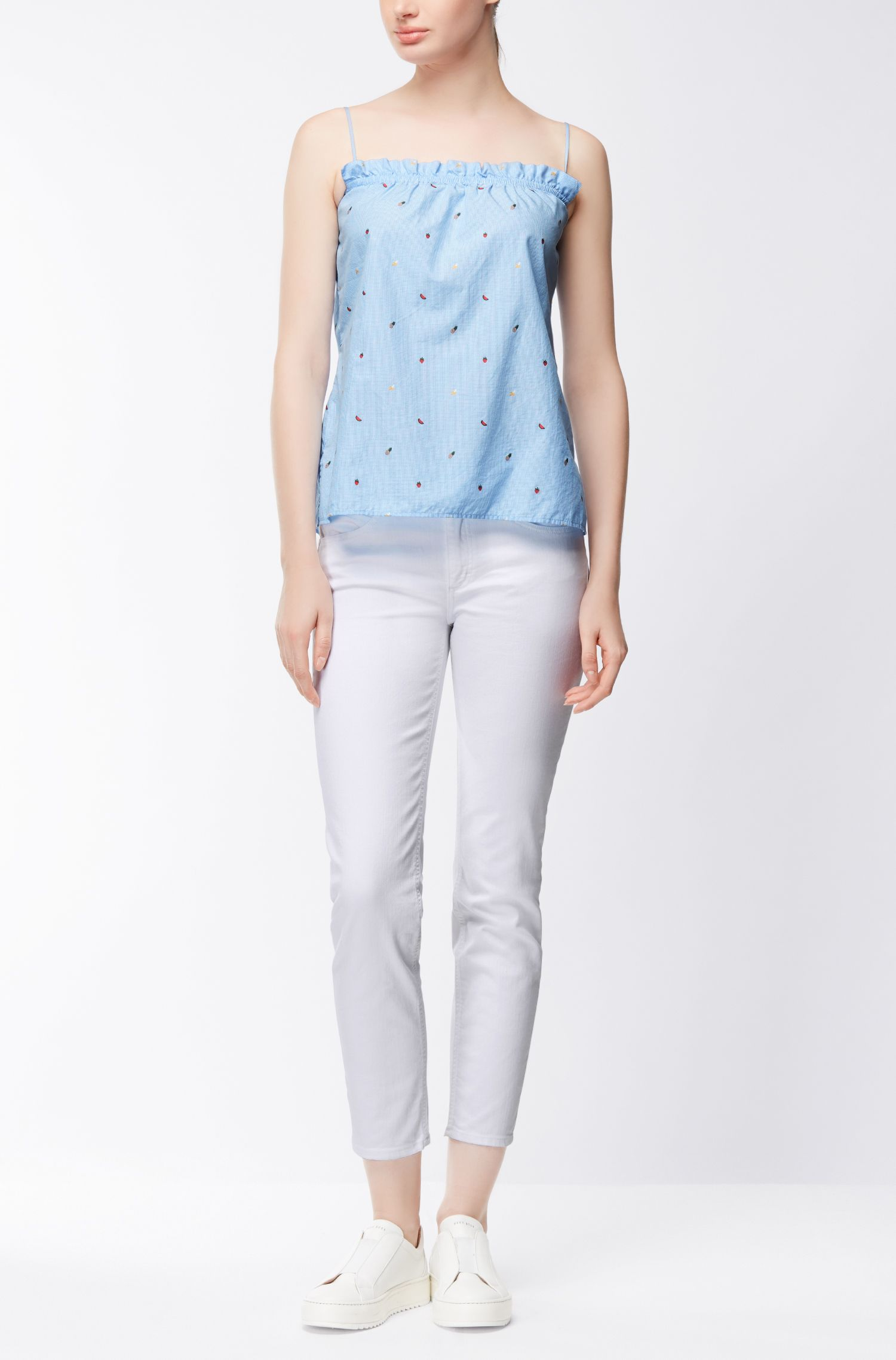 Cotton-jacquard camisole with gathered detailing