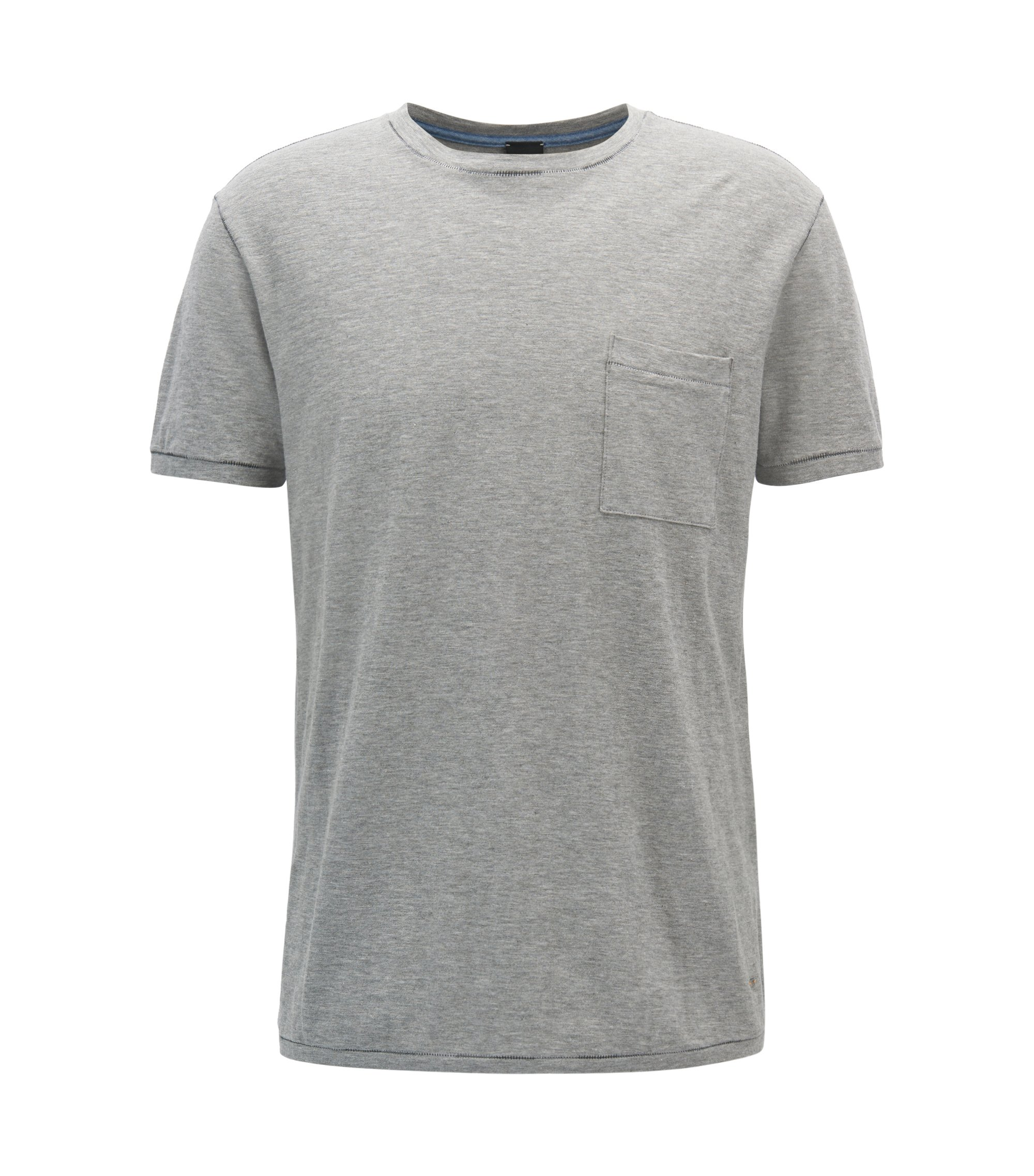 T-shirt Relaxed Fit en coton flammé, Gris chiné