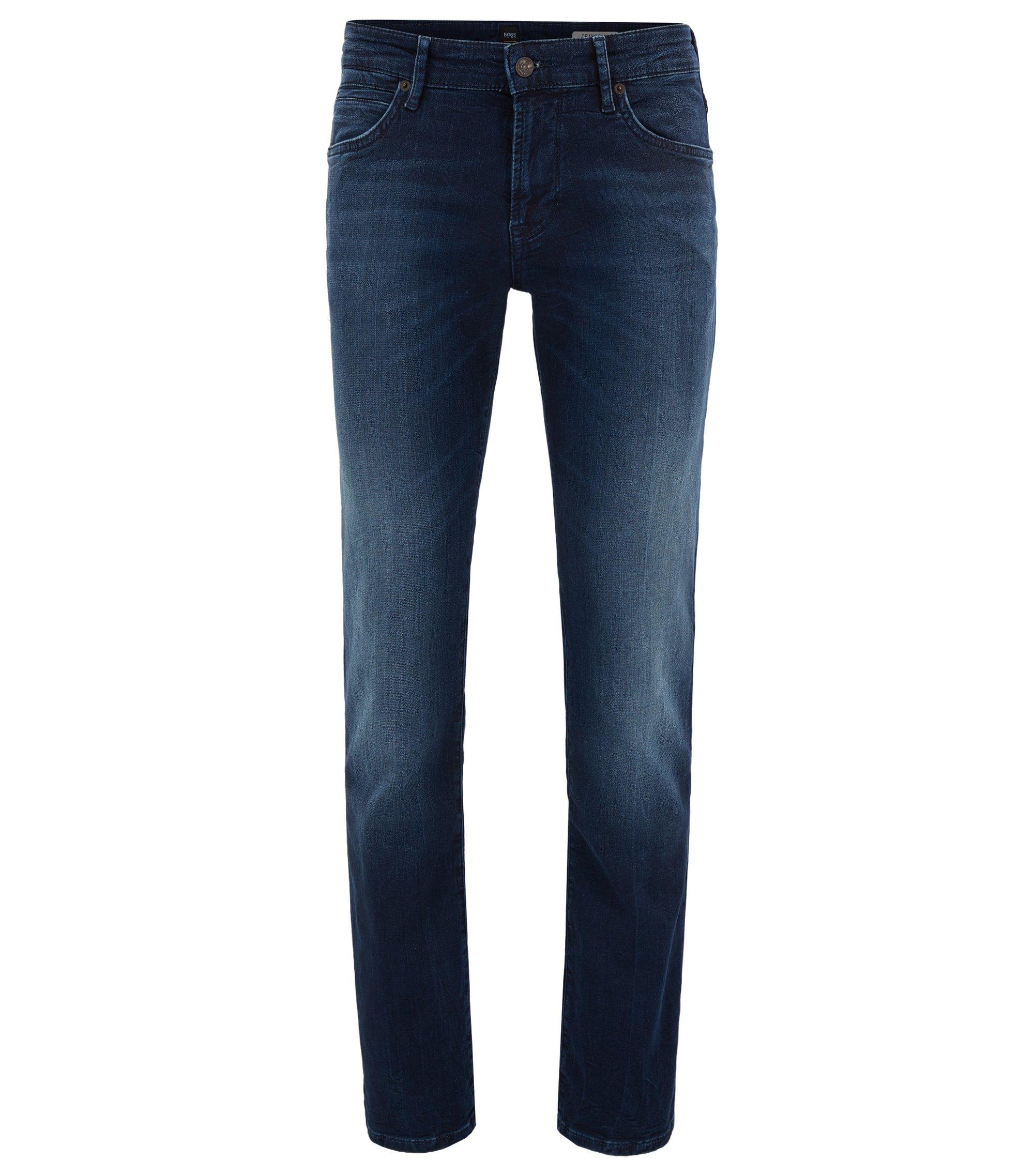 Jeans regular fit in denim elasticizzato in maglia, Blu scuro